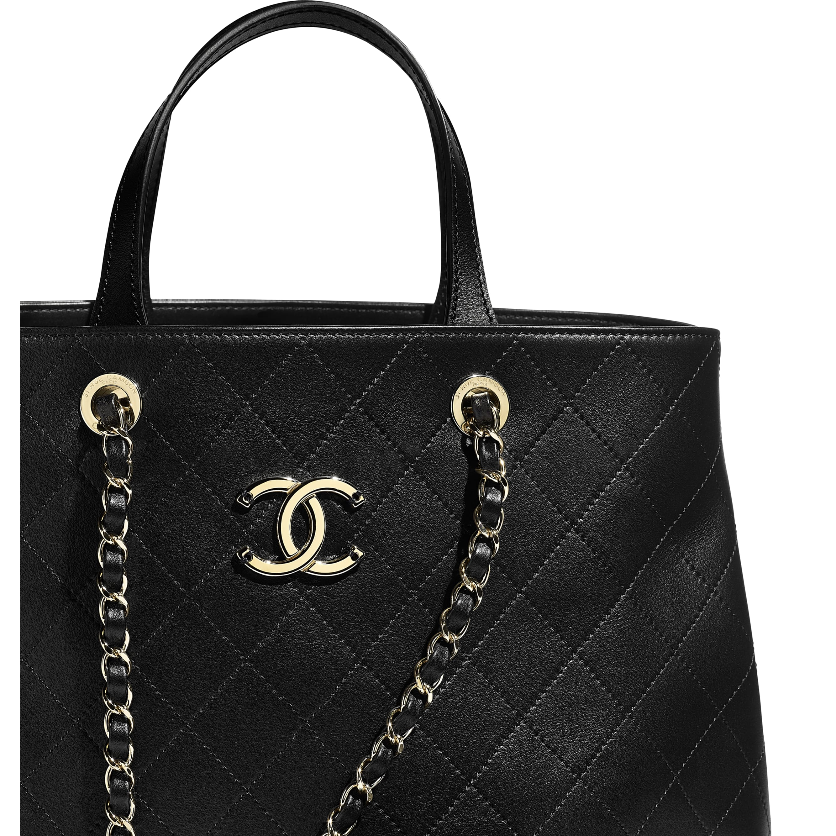 Small Shopping Bag - Black - Calfskin & Gold-Tone Metal - CHANEL - Extra view - see standard sized version