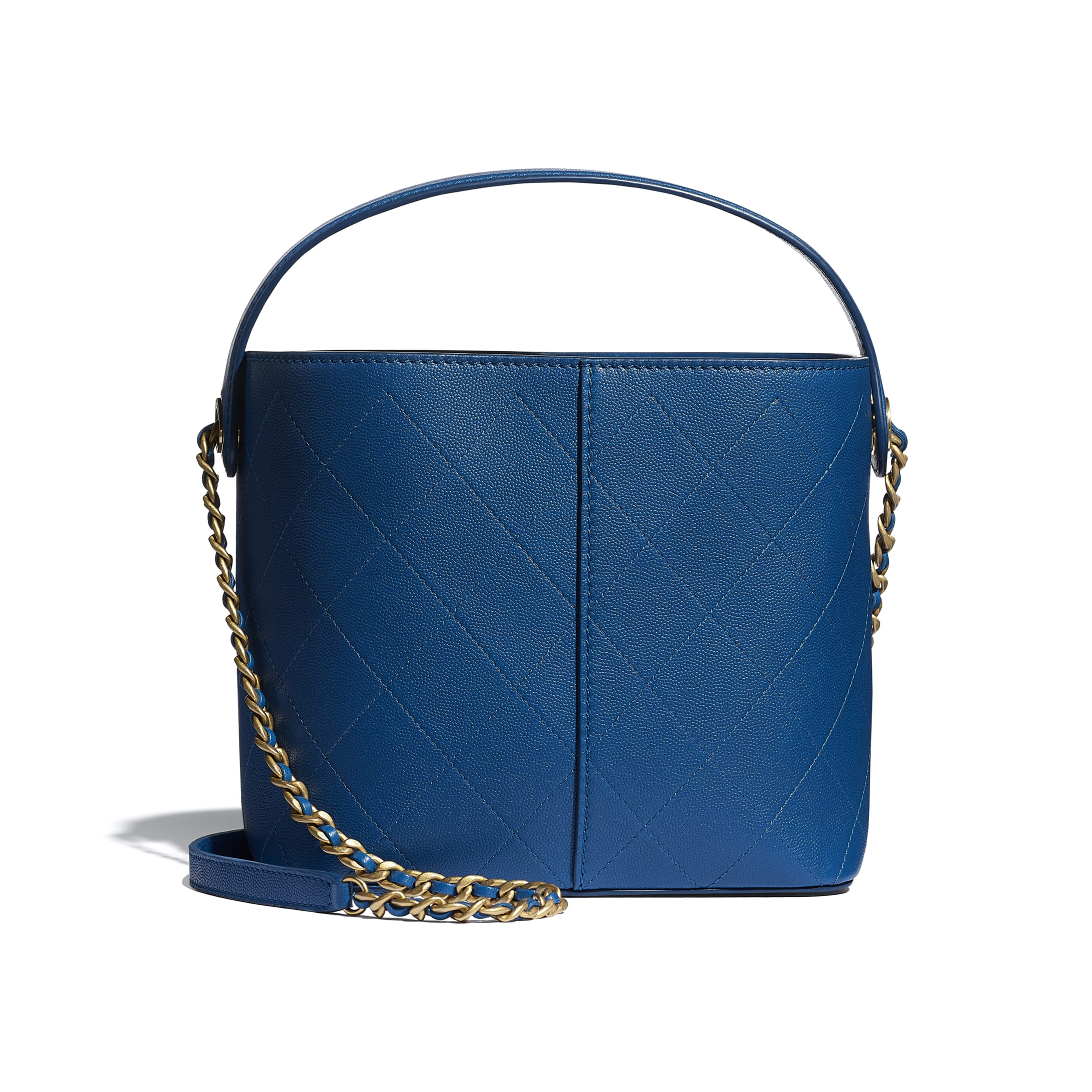 Small Tote - Blue - Grained Lambskin, Smooth Lambskin & Gold-Tone Metal - CHANEL - Alternative view - see standard sized version