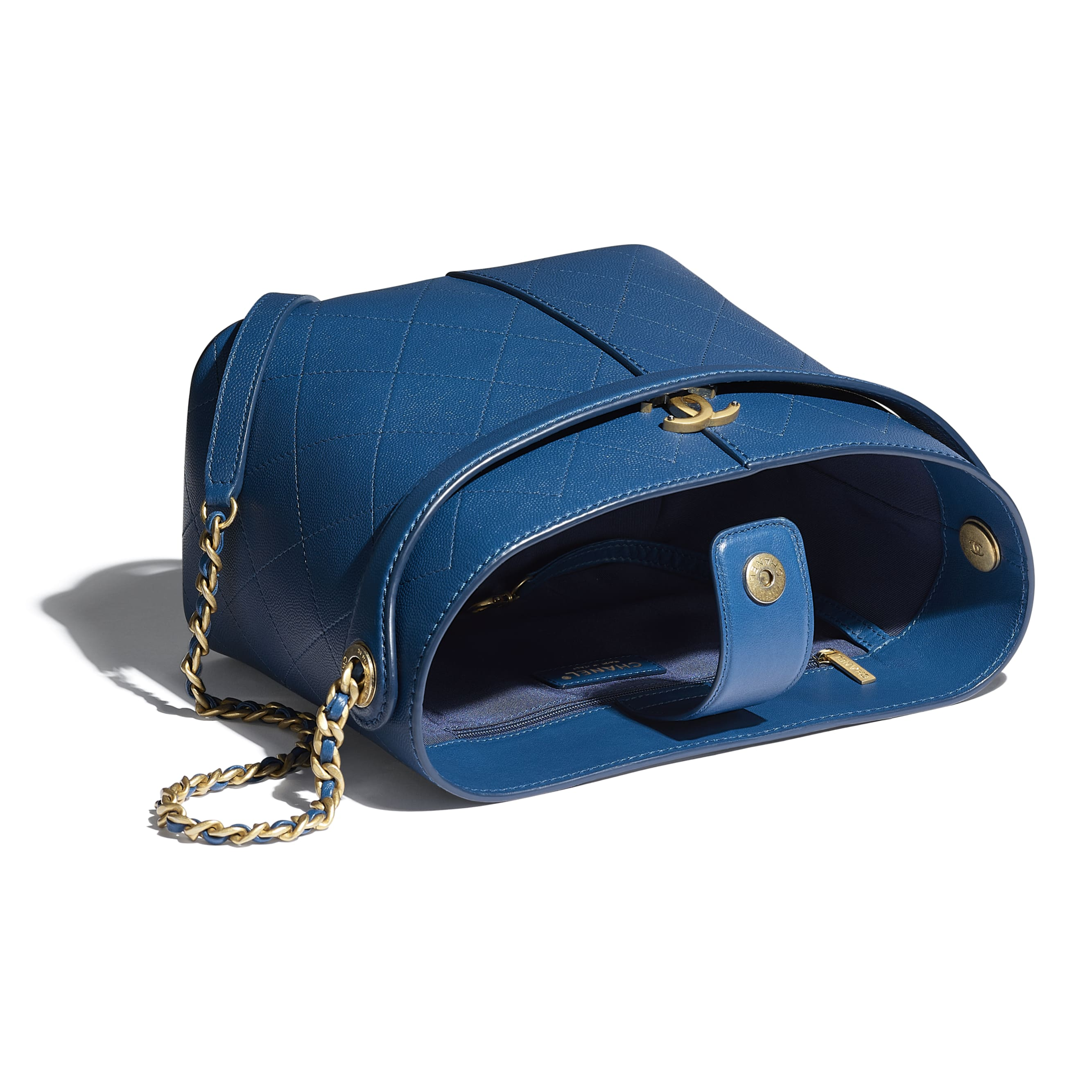 Small Tote - Blue - Grained Lambskin, Smooth Lambskin & Gold-Tone Metal - CHANEL - Other view - see standard sized version