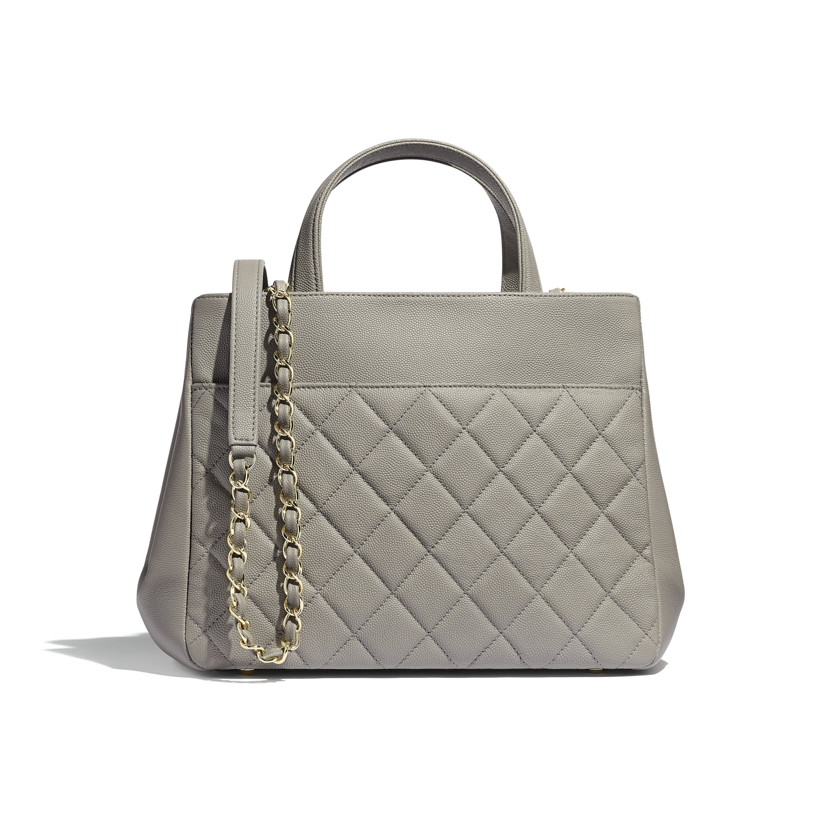 Small Shopping Bag - Gray - Grained Calfskin & Gold-Tone Metal - Alternative view - see standard sized version