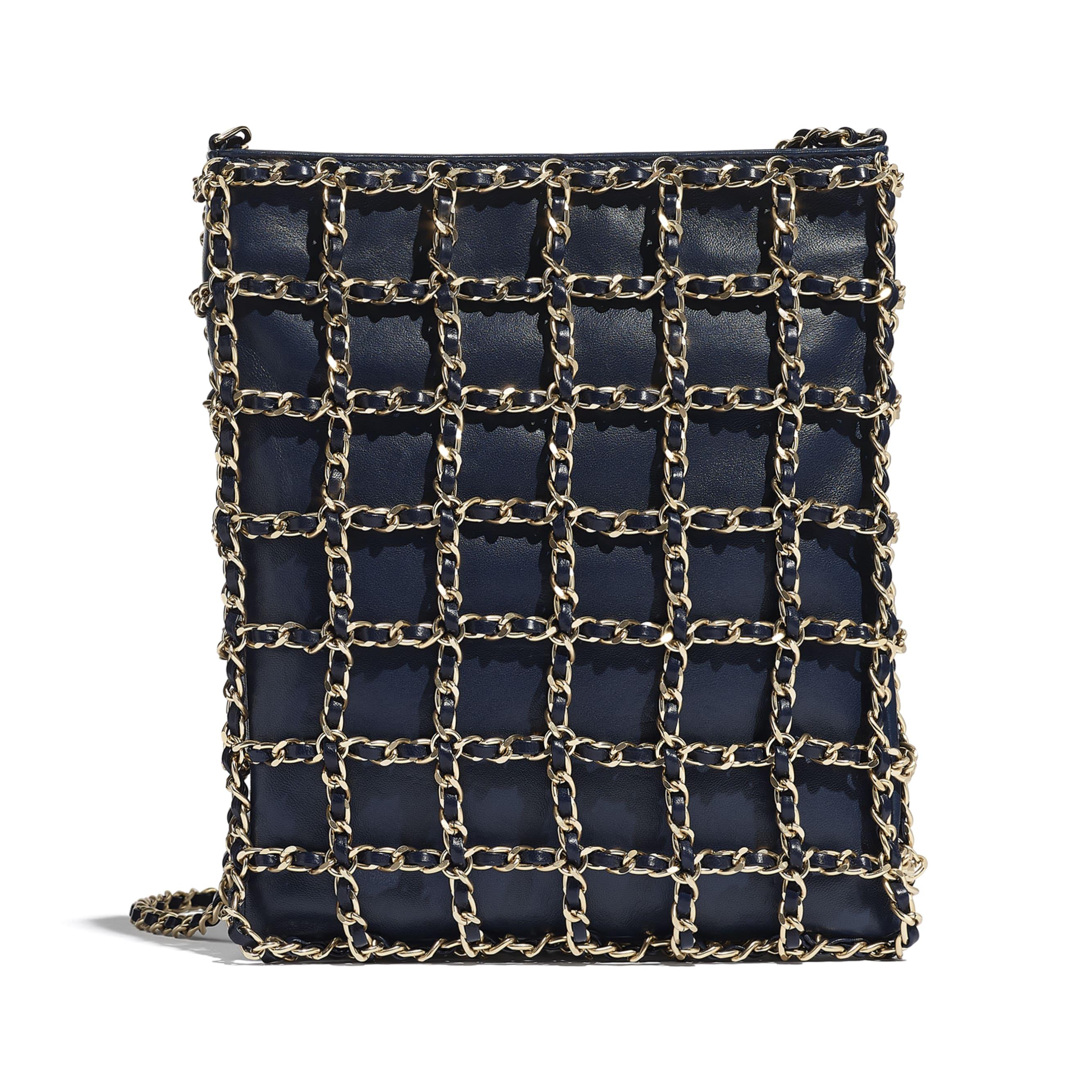 小型購物包 - 海軍藍 - 小羊皮與金色金屬 - CHANEL - 替代視圖 - 查看標準尺寸版本