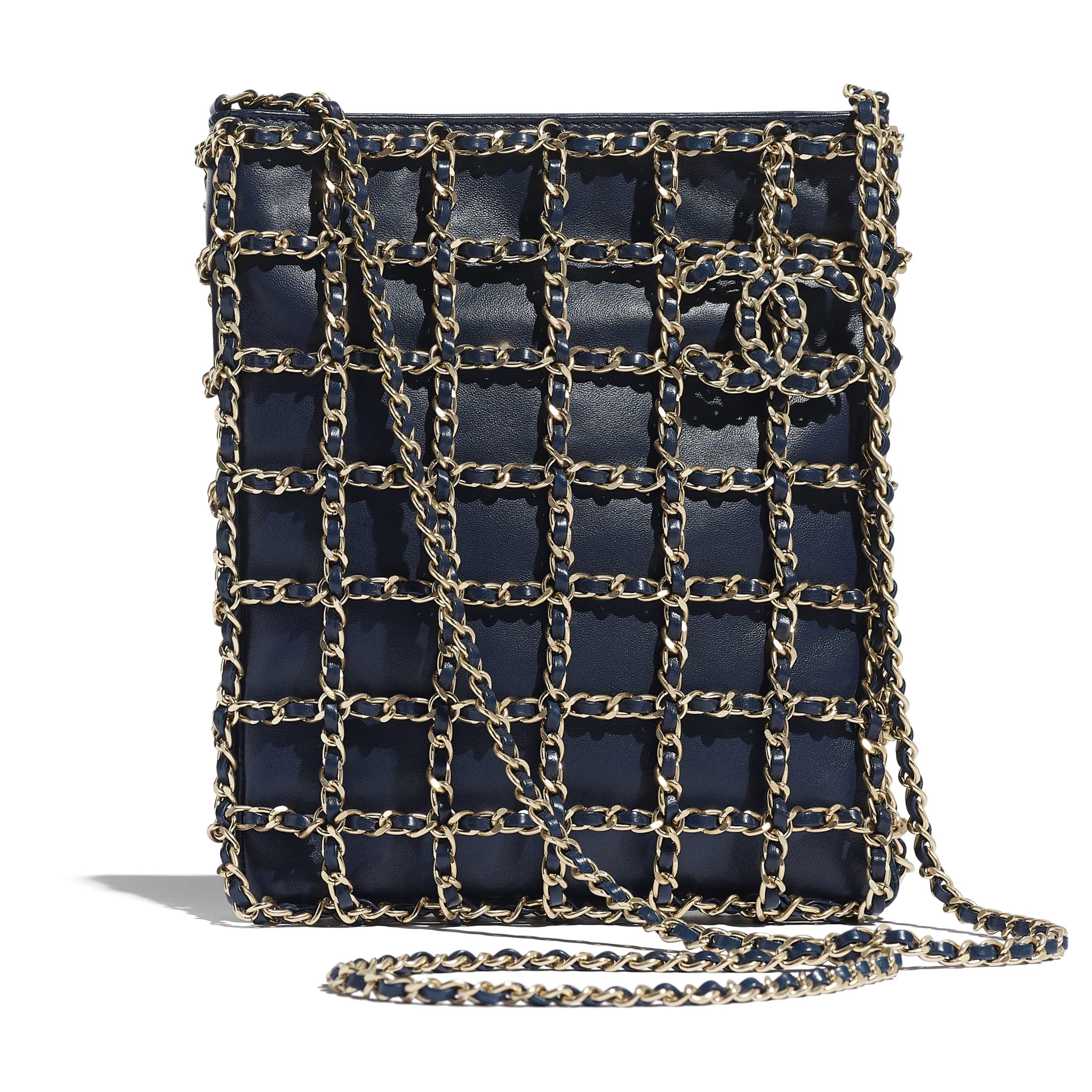 小型購物包 - 海軍藍 - 小羊皮與金色金屬 - CHANEL - 預設視圖 - 查看標準尺寸版本