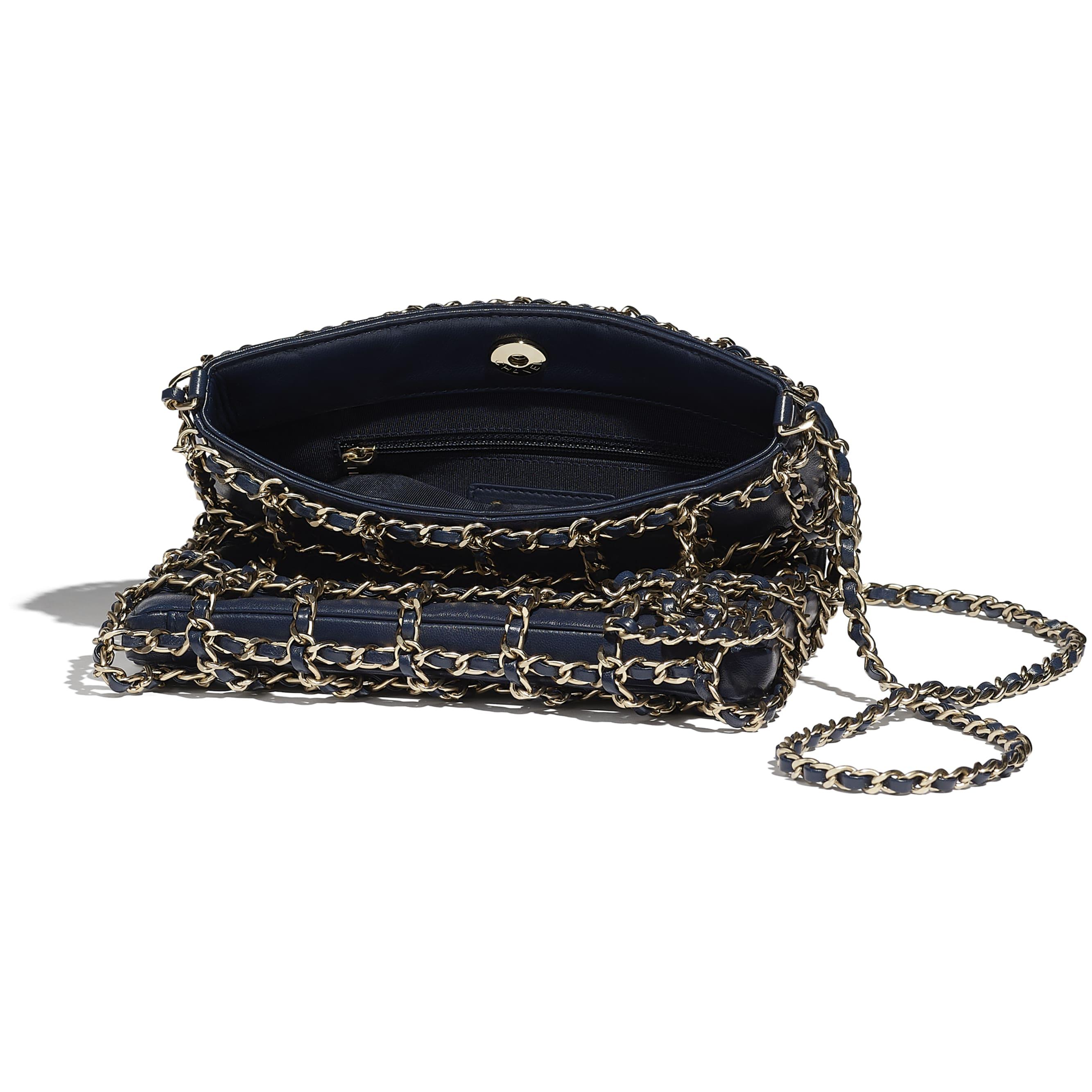 小型購物包 - 海軍藍 - 小羊皮與金色金屬 - CHANEL - 其他視圖 - 查看標準尺寸版本