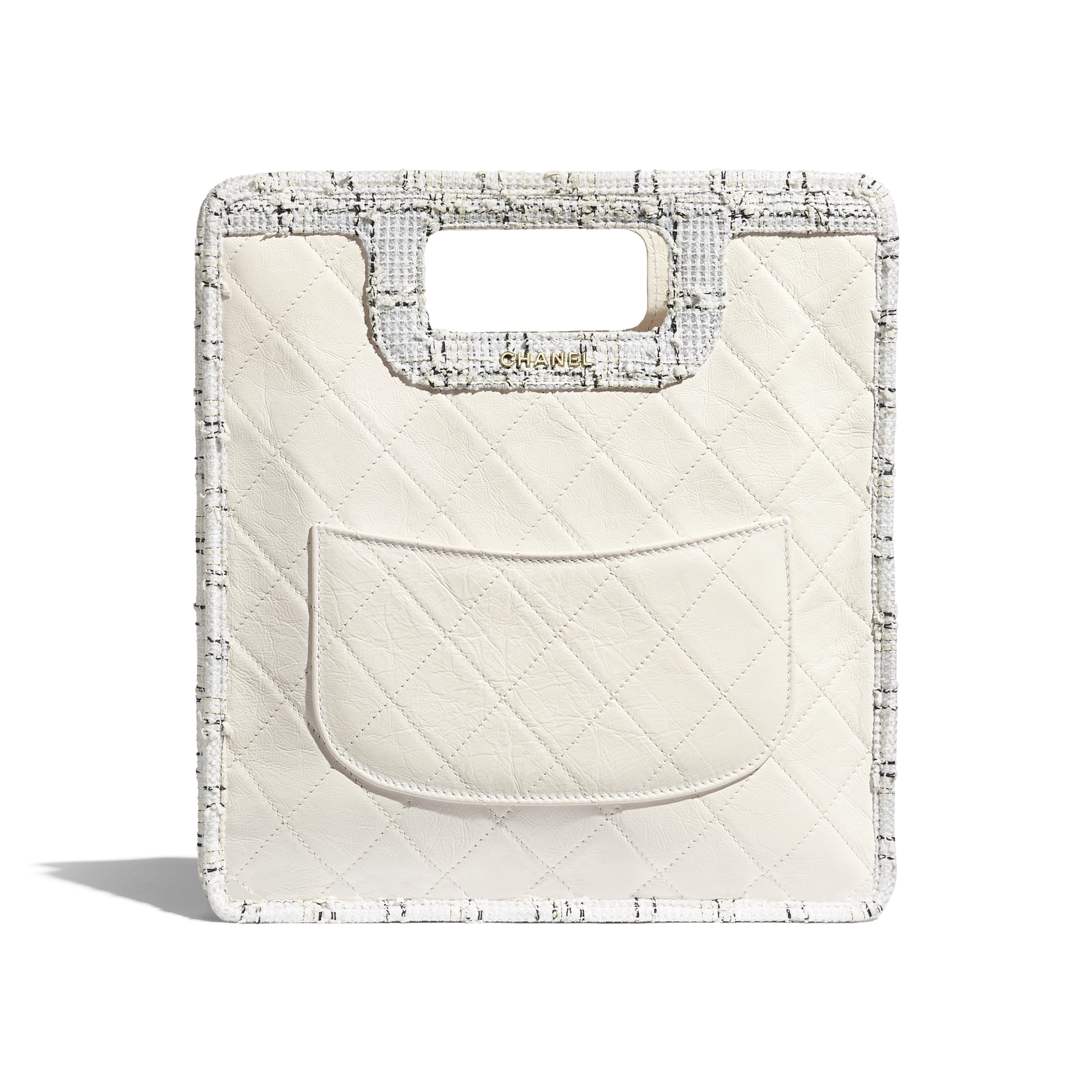 Small Shopping Bag - White, Black & Ecru - Aged Calfskin, Tweed & Gold-Tone Metal - CHANEL - Alternative view - see standard sized version