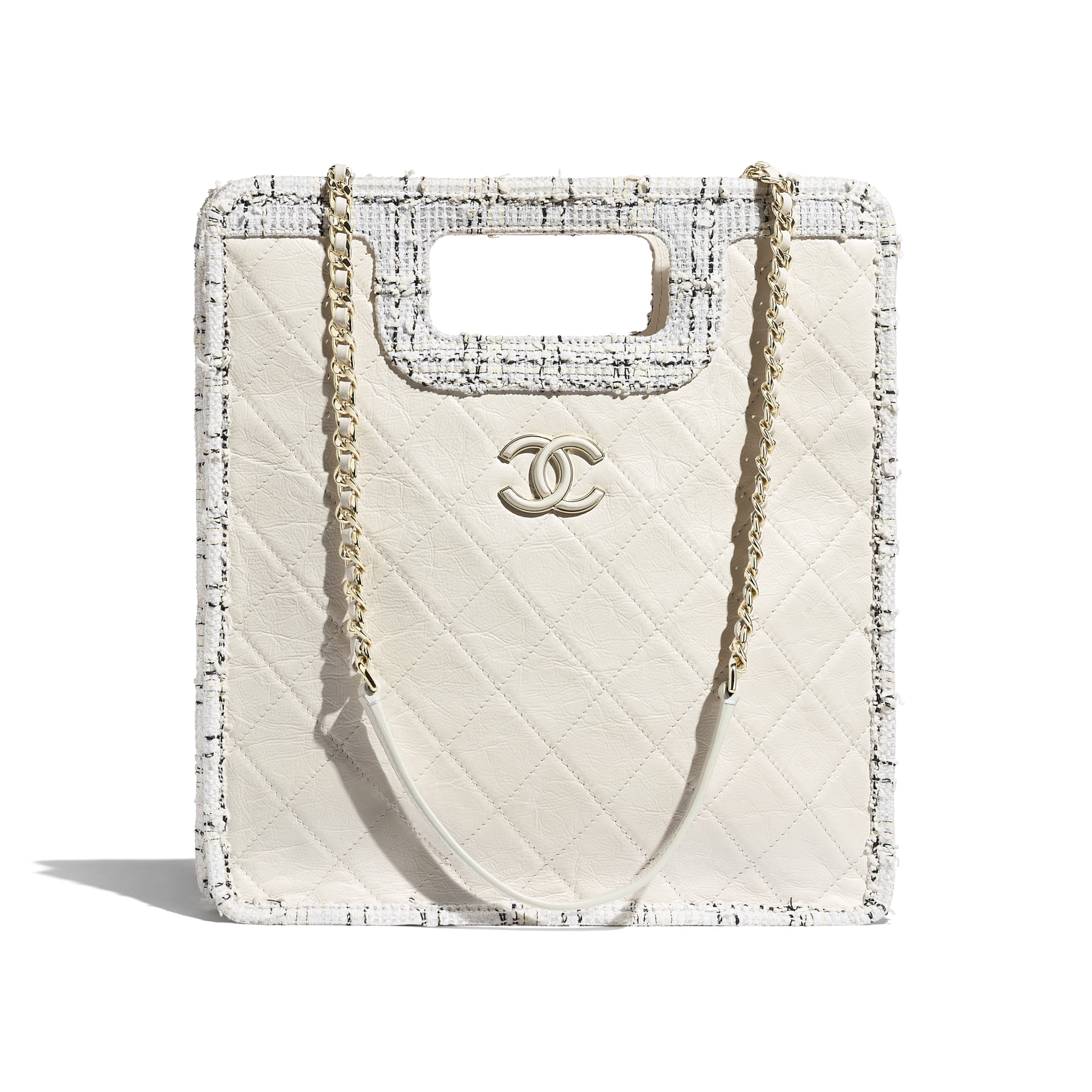 Small Shopping Bag - White, Black & Ecru - Aged Calfskin, Tweed & Gold-Tone Metal - CHANEL - Default view - see standard sized version