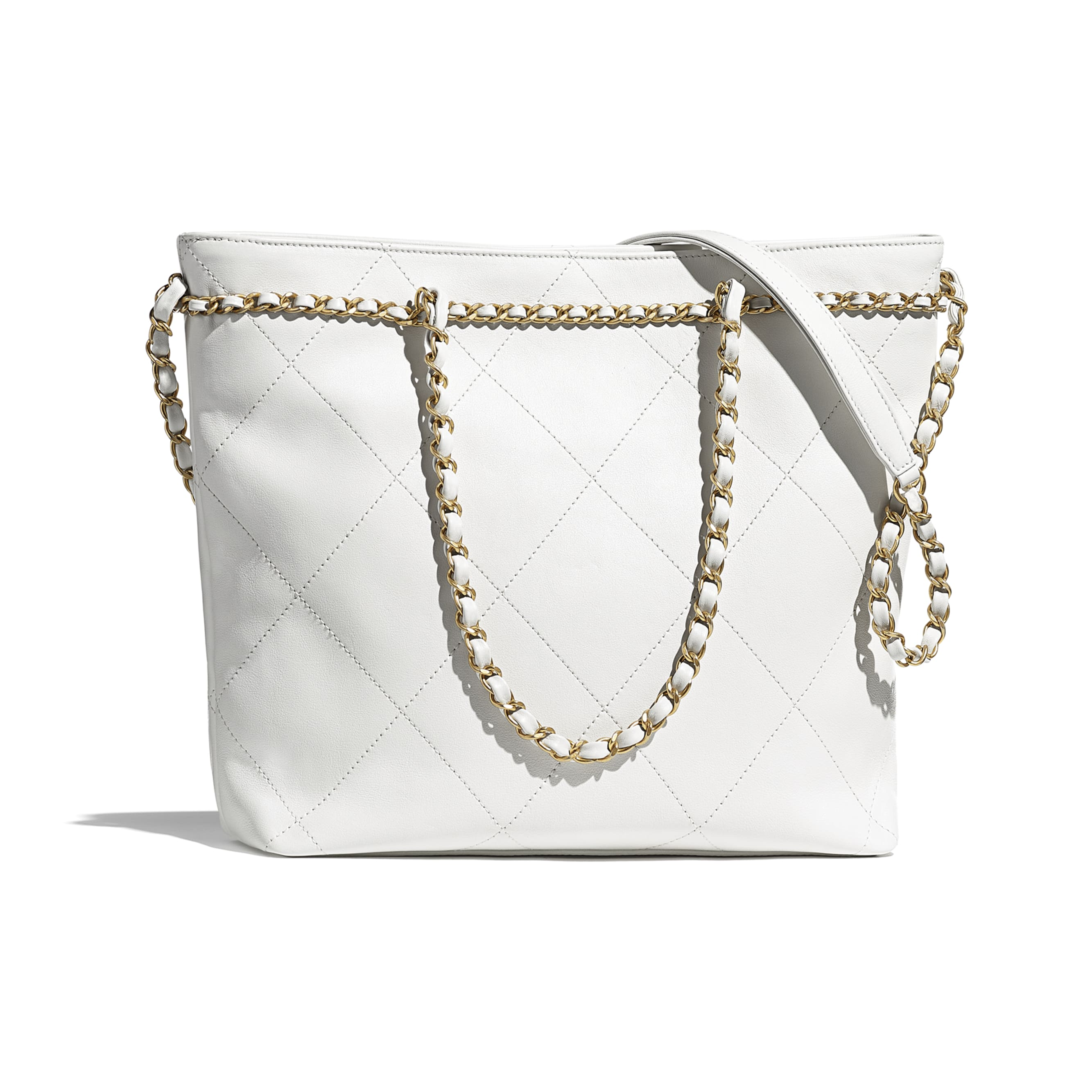 Small Tote - White - Calfskin & Gold-Tone Metal - CHANEL - Alternative view - see standard sized version