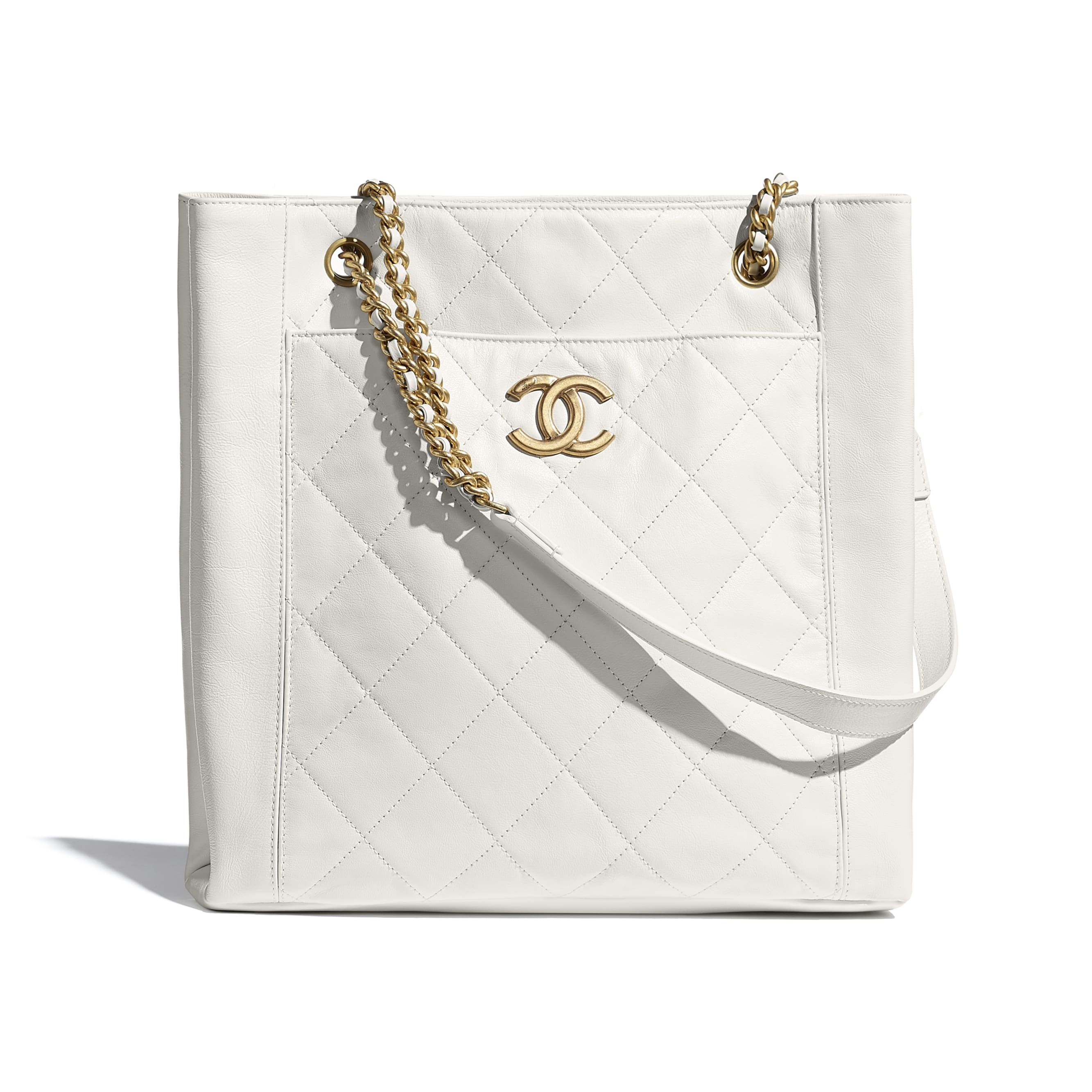 Small Tote - White - Calfskin & Gold-Tone Metal - CHANEL - Default view - see standard sized version