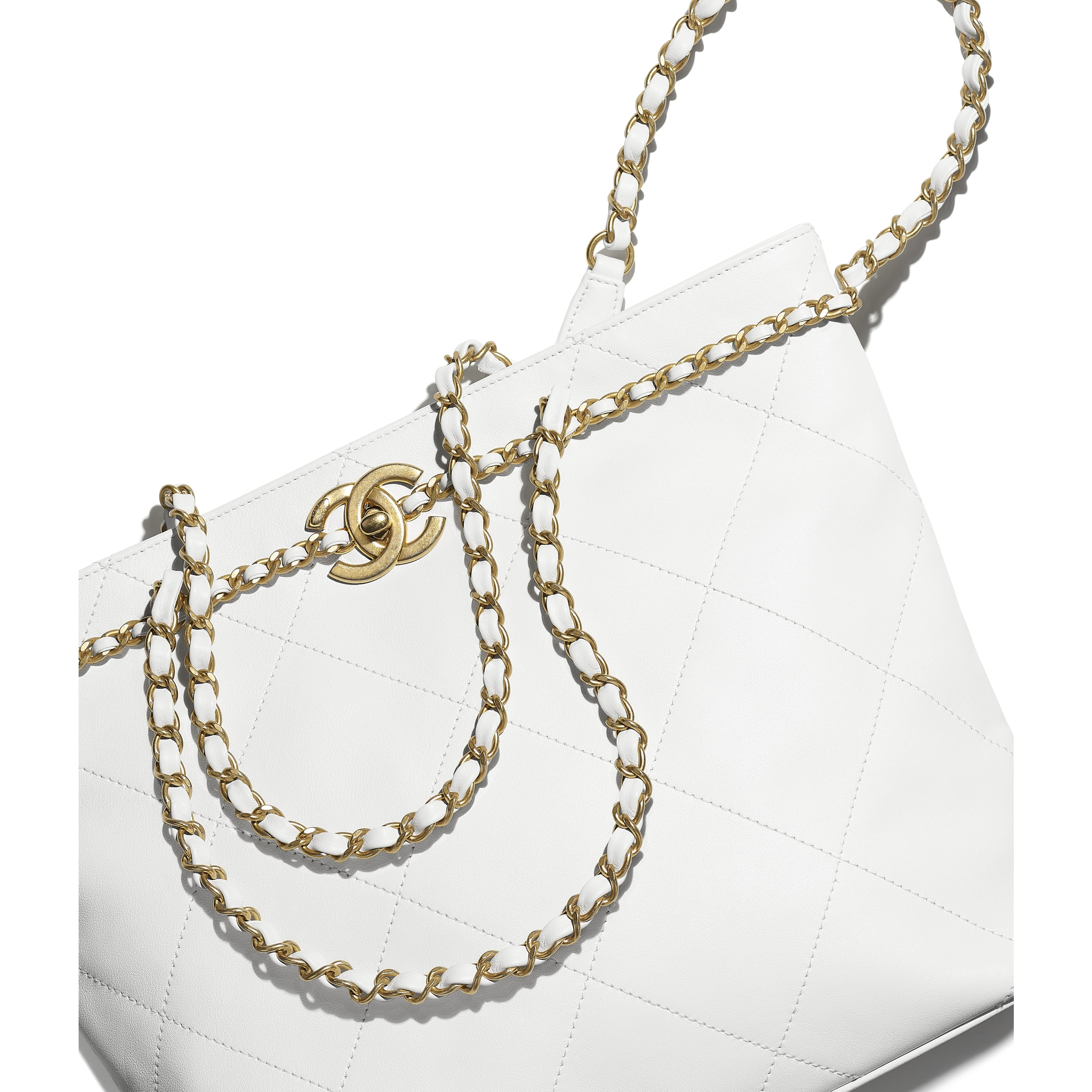 Small Tote - White - Calfskin & Gold-Tone Metal - CHANEL - Extra view - see standard sized version