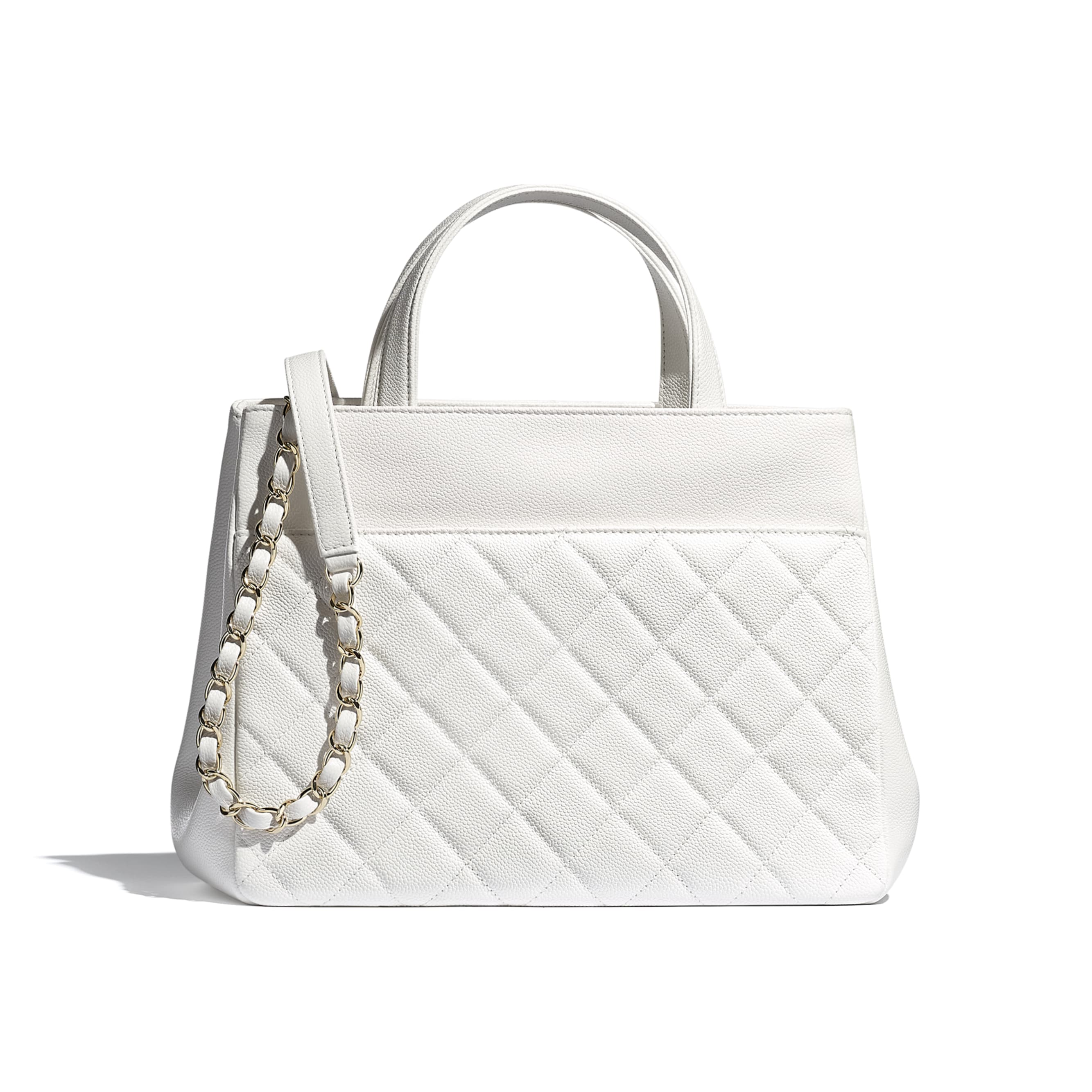 Small Tote - White - Grained Calfskin & Gold-Tone Metal - CHANEL - Alternative view - see standard sized version