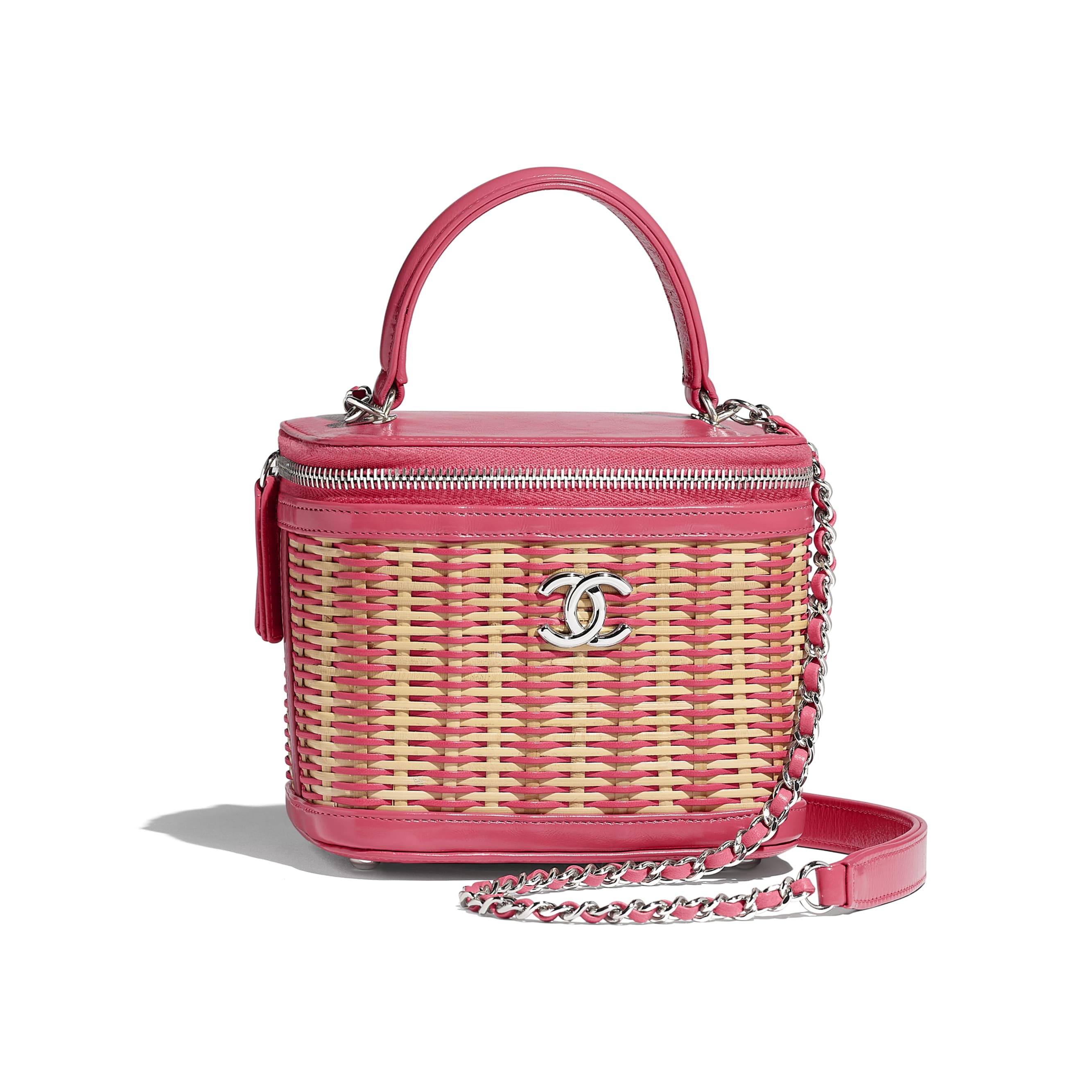 Small Vanity Case - Beige & Pink - Rattan, Calfskin & Silver-Tone Metal - Default view - see standard sized version