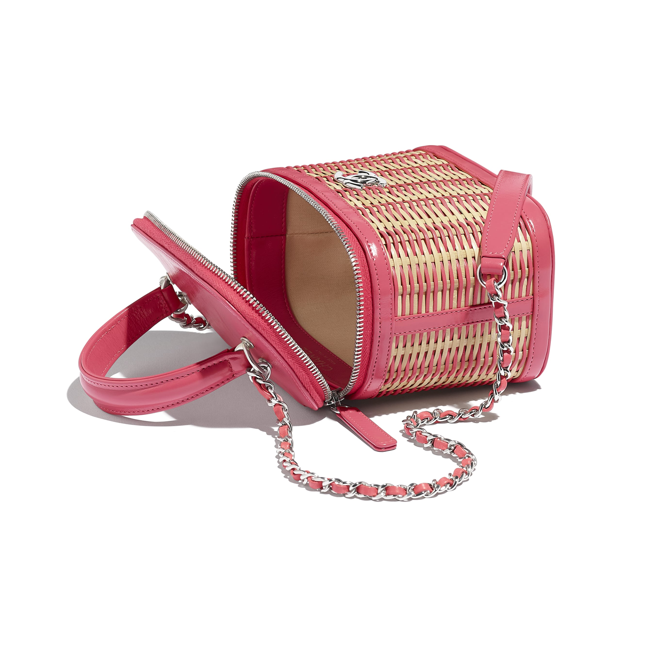 Small Vanity Case - Beige & Pink - Rattan, Calfskin & Silver-Tone Metal - Other view - see standard sized version
