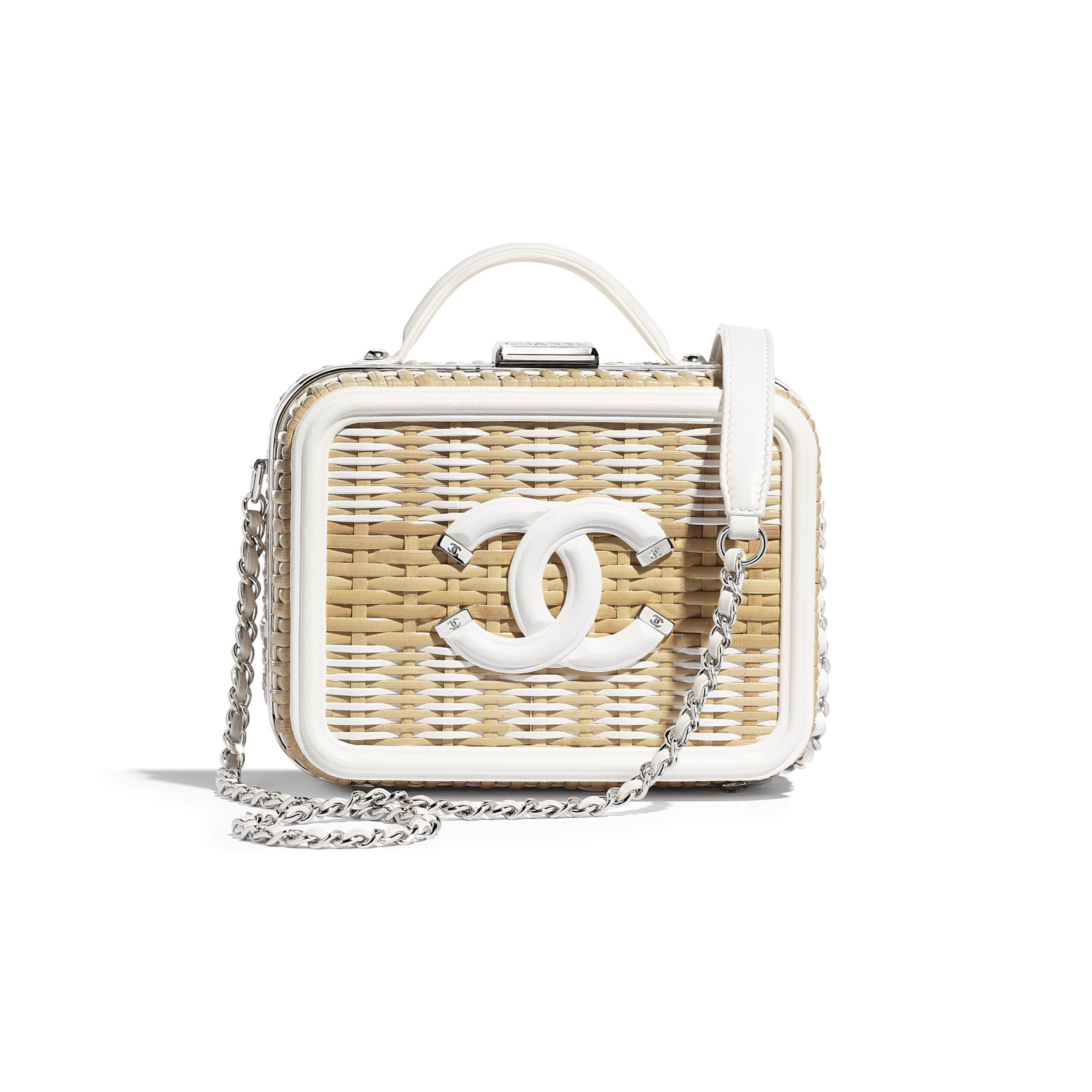 Small Vanity Case - Beige & White - Rattan, Calfskin & Silver-Tone Metal - Default view - see standard sized version