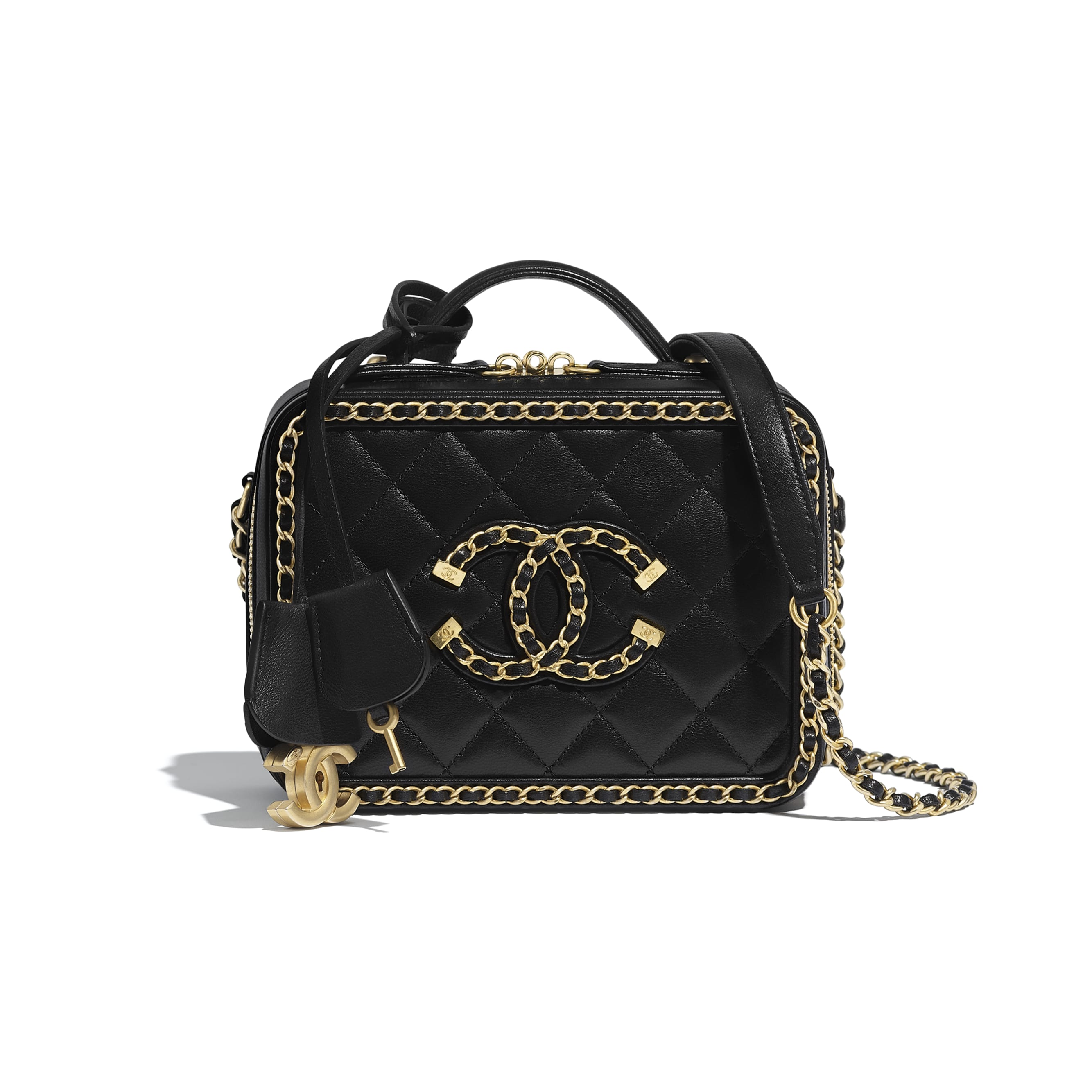 Small Vanity Case - Black - Goatskin & Gold-Tone Metal - CHANEL - Default view - see standard sized version