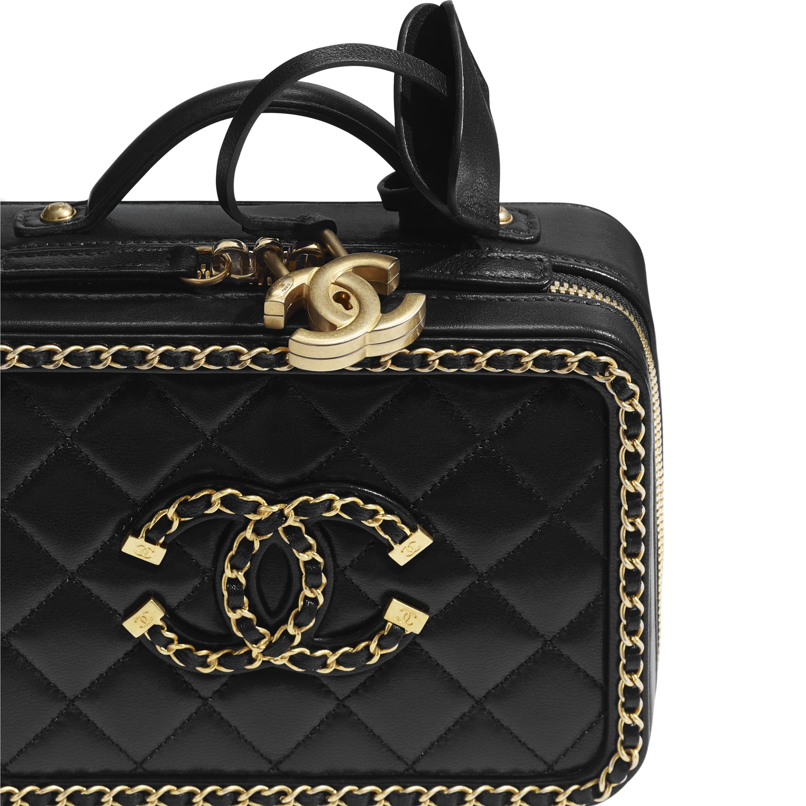 Small Vanity Case - Black - Goatskin & Gold-Tone Metal - CHANEL - Extra view - see standard sized version