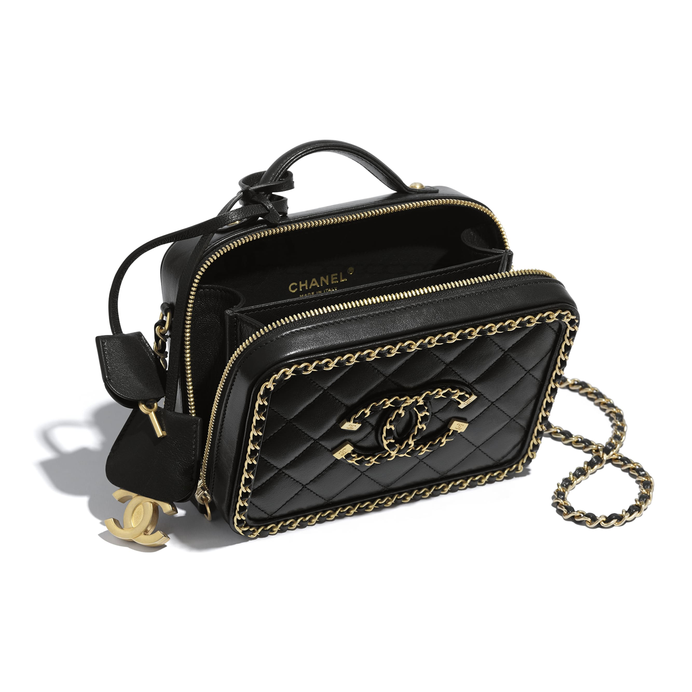 Small Vanity Case - Black - Goatskin & Gold-Tone Metal - Other view - see standard sized version