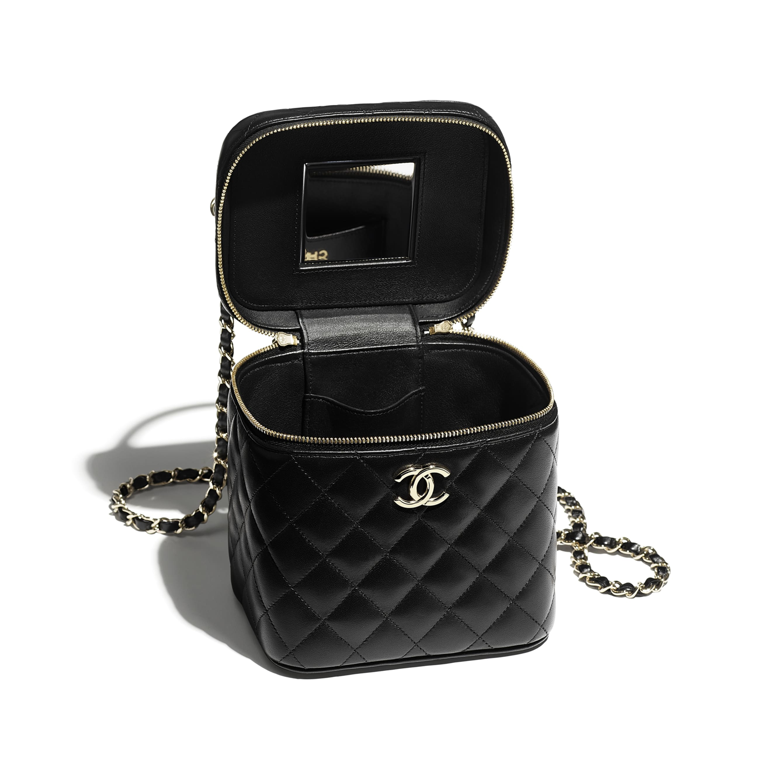 Small Vanity Case - Black - Lambskin - CHANEL - Other view - see standard sized version