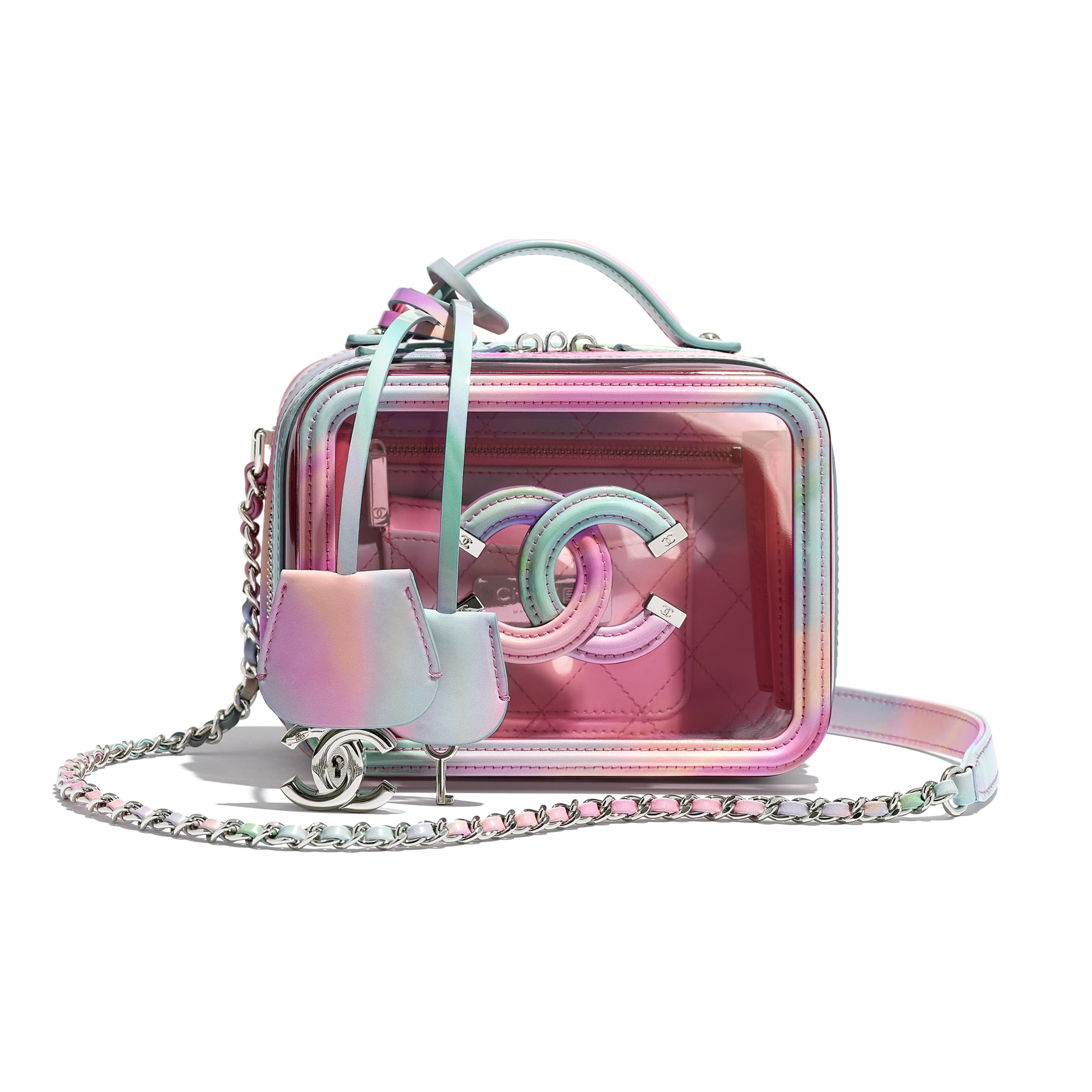 Small Vanity Case - Multicolor - PVC, Patent Calfskin, Patent Lambskin & Silver-Tone Metal - CHANEL - Default view - see standard sized version