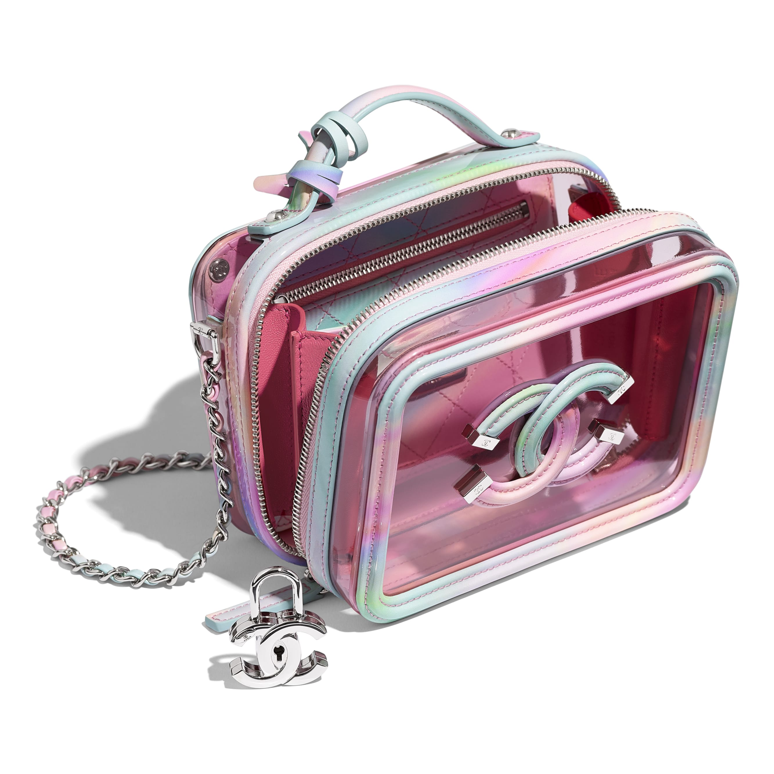 Small Vanity Case - Multicolor - PVC, Patent Calfskin, Patent Lambskin & Silver-Tone Metal - CHANEL - Other view - see standard sized version