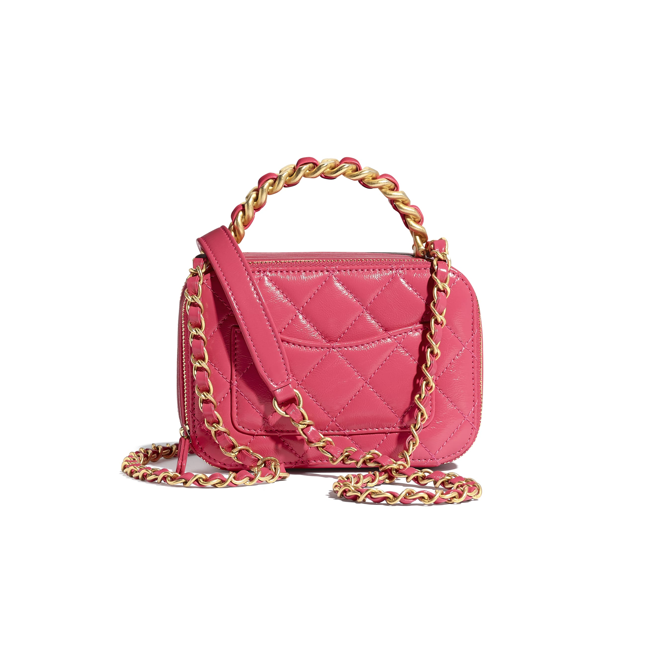 Small Vanity Case - Pink - Lambskin, Shiny Crumpled Calfskin & Gold-Tone Metal - CHANEL - Alternative view - see standard sized version