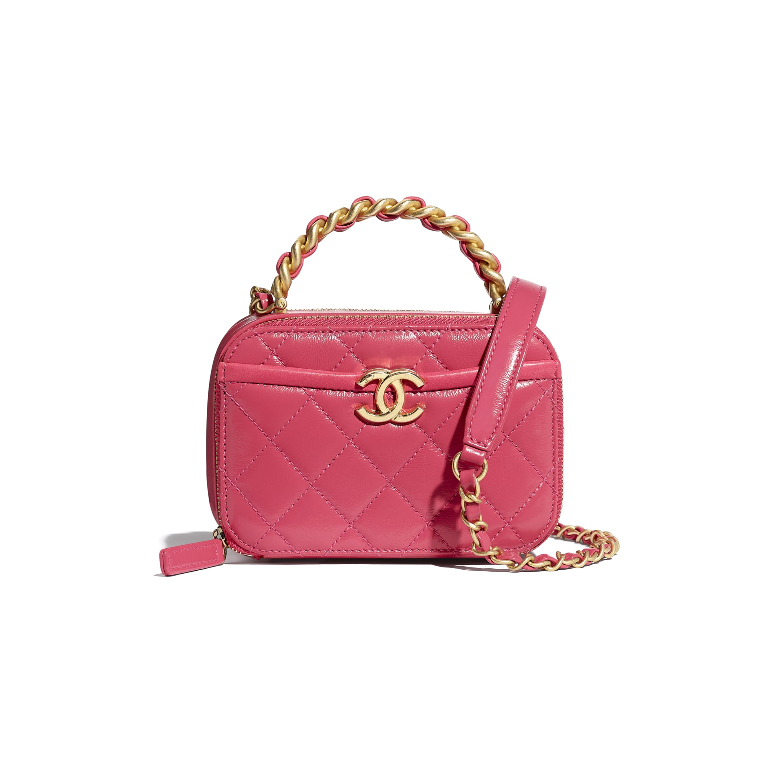Small Vanity Case - Pink - Lambskin, Shiny Crumpled Calfskin & Gold-Tone Metal - CHANEL - Default view - see standard sized version