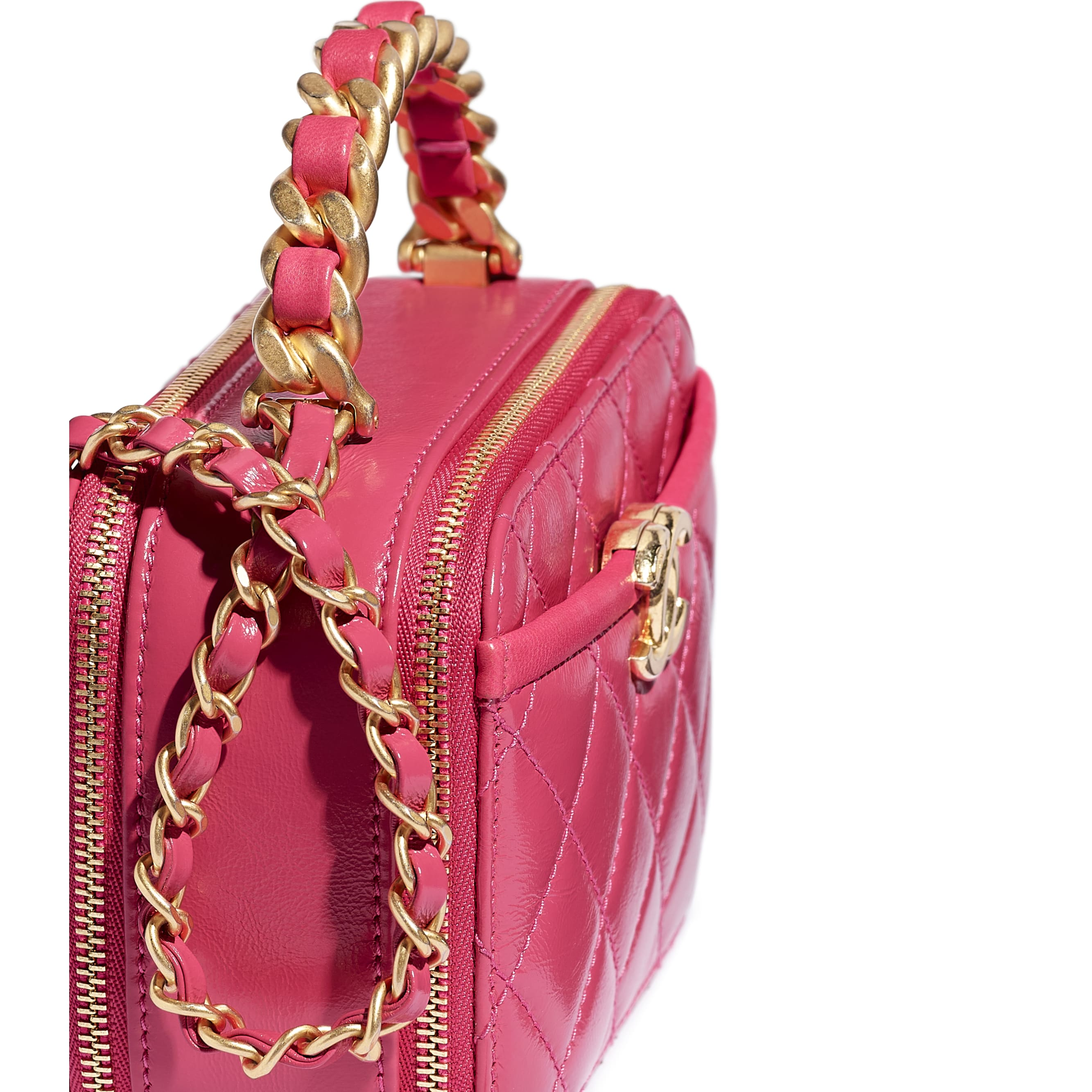 Small Vanity Case - Pink - Lambskin, Shiny Crumpled Calfskin & Gold-Tone Metal - CHANEL - Extra view - see standard sized version