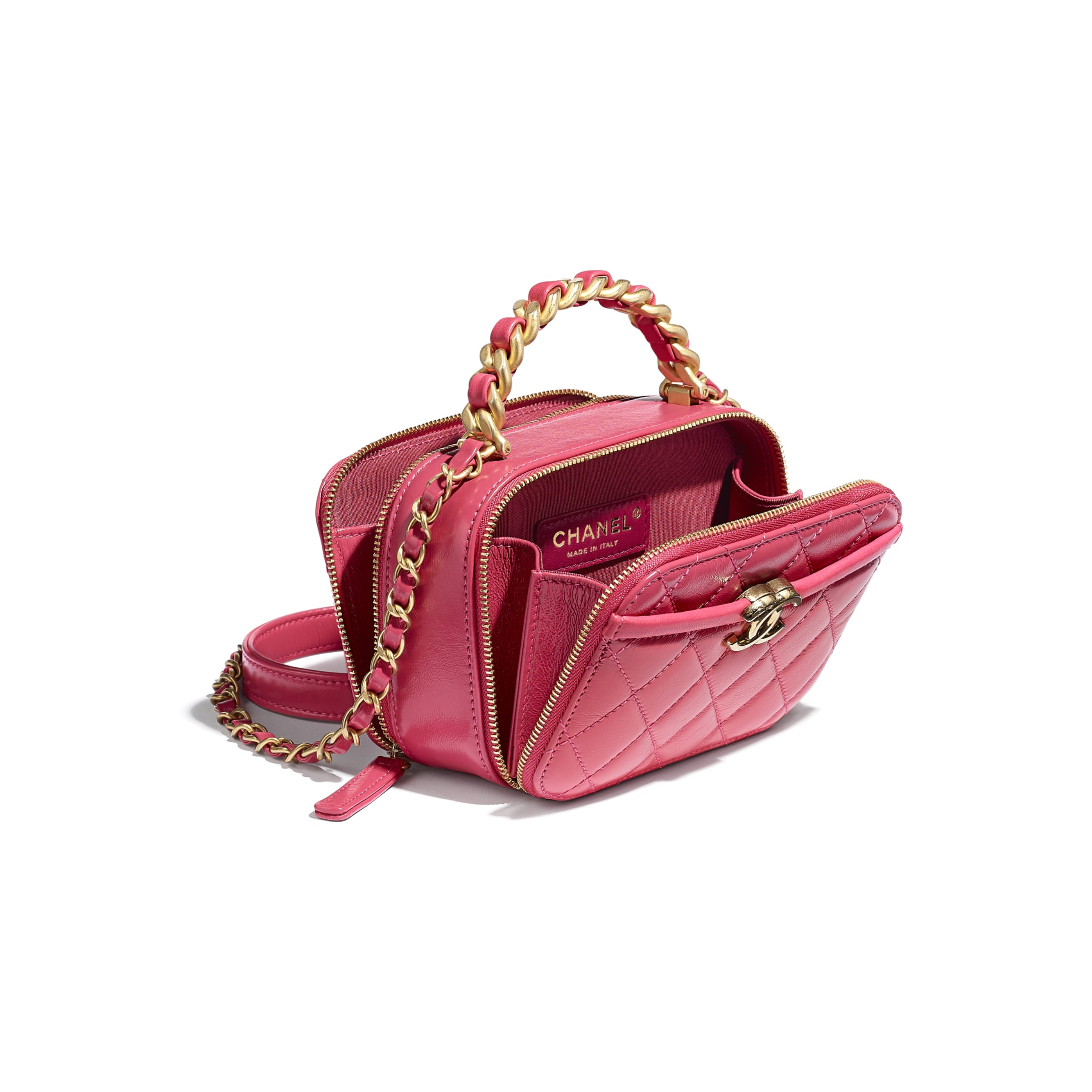 Petit sac vanity - Rose - Agneau, veau froissé brillant & métal doré - CHANEL - Autre vue - voir la version taille standard