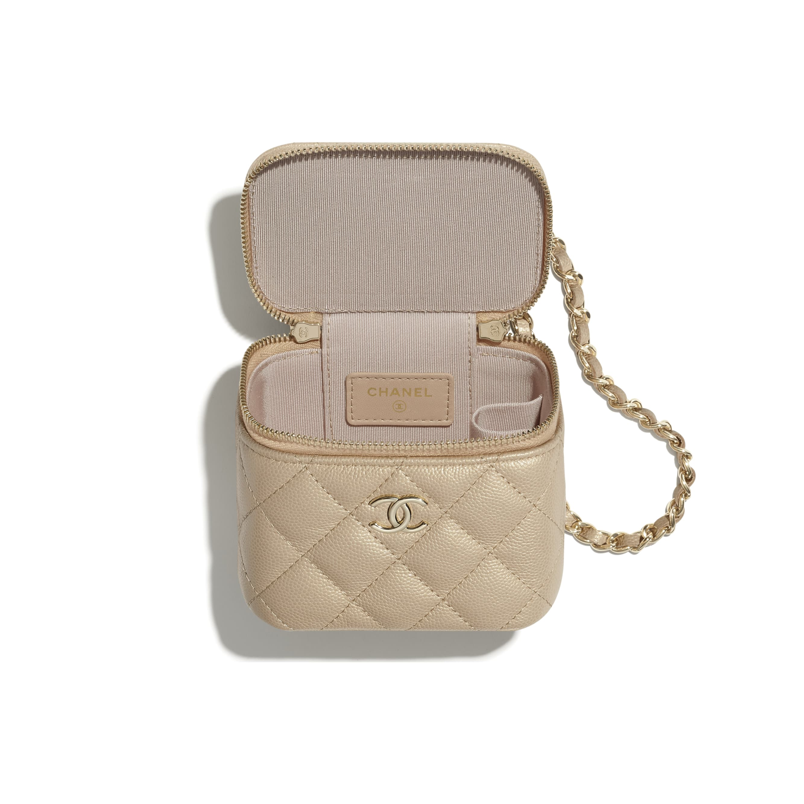 Small Vanity with Chain - Beige - Iridescent Grained Calfskin, Imitation Pearls & Gold-Tone Metal - CHANEL - Alternative view - see standard sized version