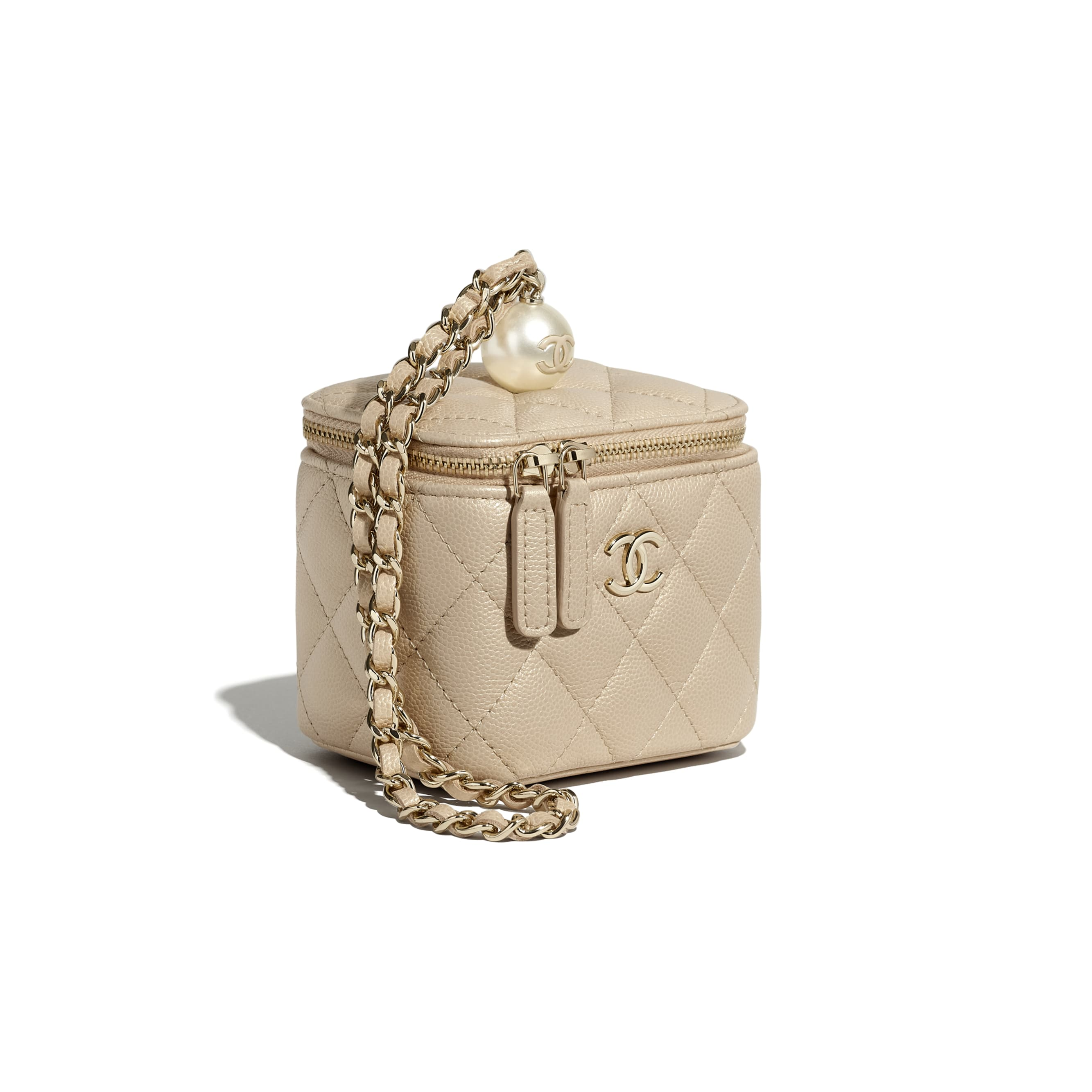 Small Vanity with Chain - Beige - Iridescent Grained Calfskin, Imitation Pearls & Gold-Tone Metal - CHANEL - Other view - see standard sized version