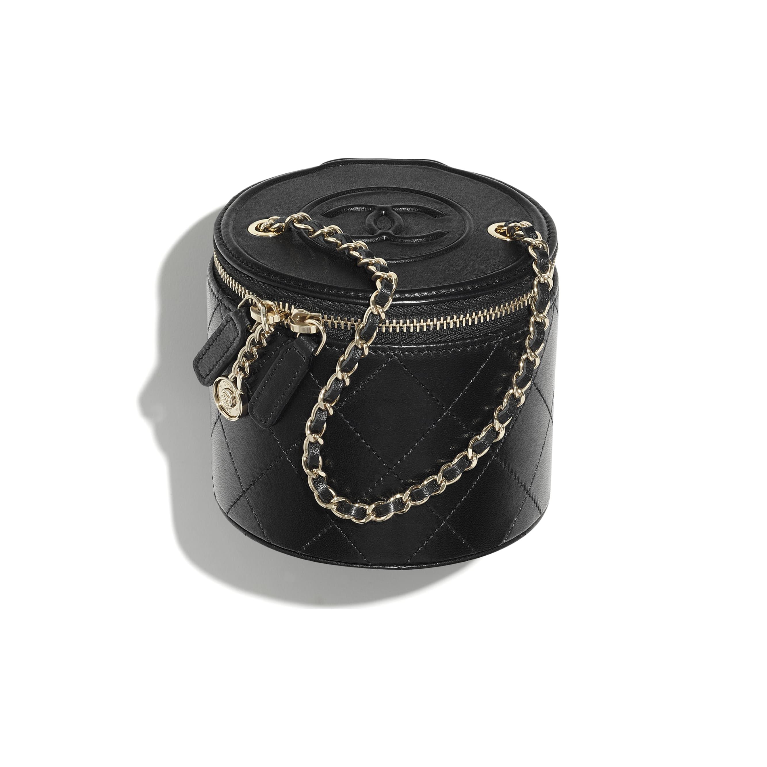 Косметичка Vanity на цепочке маленького размера - Черный - Кожа ягненка и золотистый металл - CHANEL - Вид по умолчанию - посмотреть изображение стандартного размера