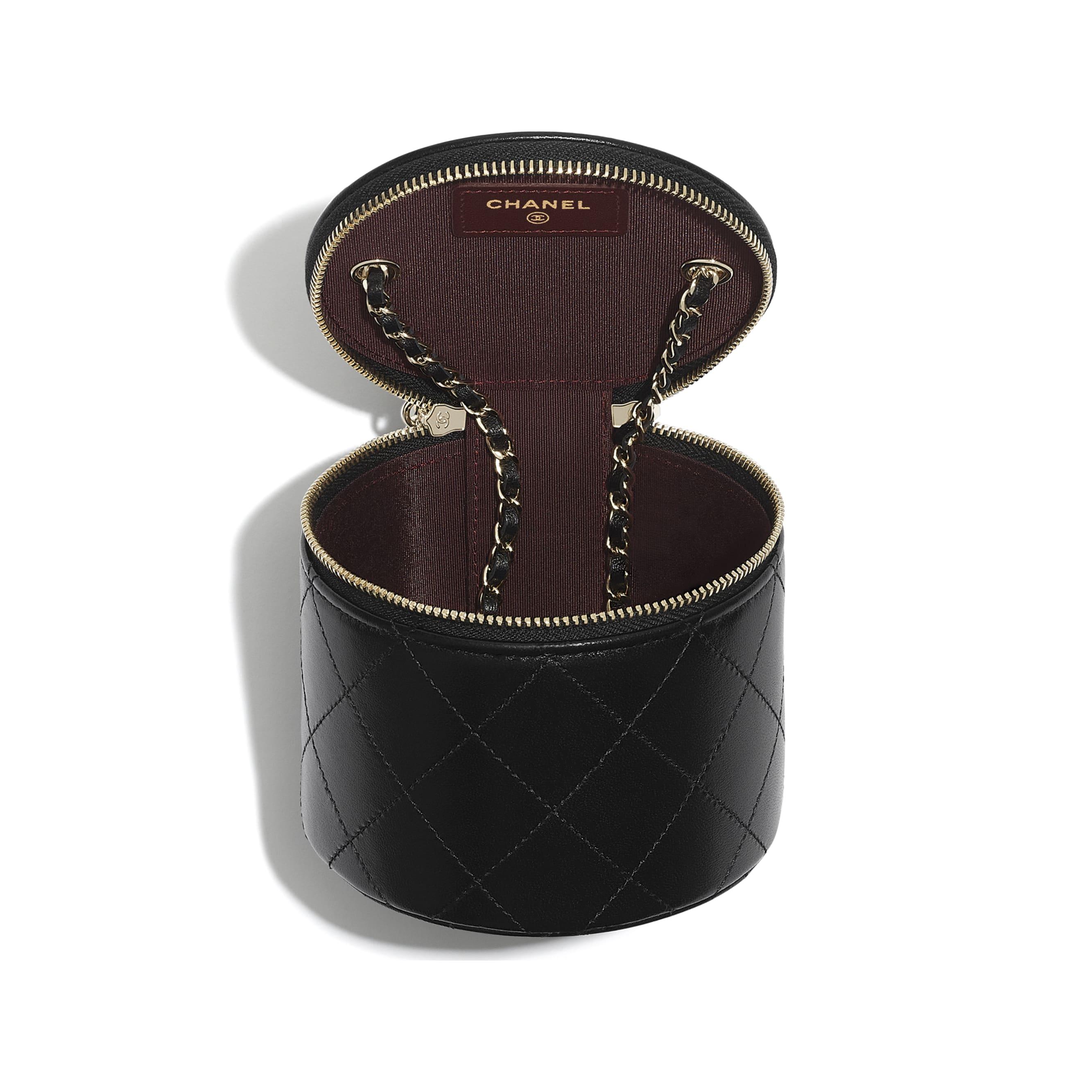 小型鍊子化妝包 - 黑 - 小羊皮與金色金屬 - CHANEL - 其他視圖 - 查看標準尺寸版本