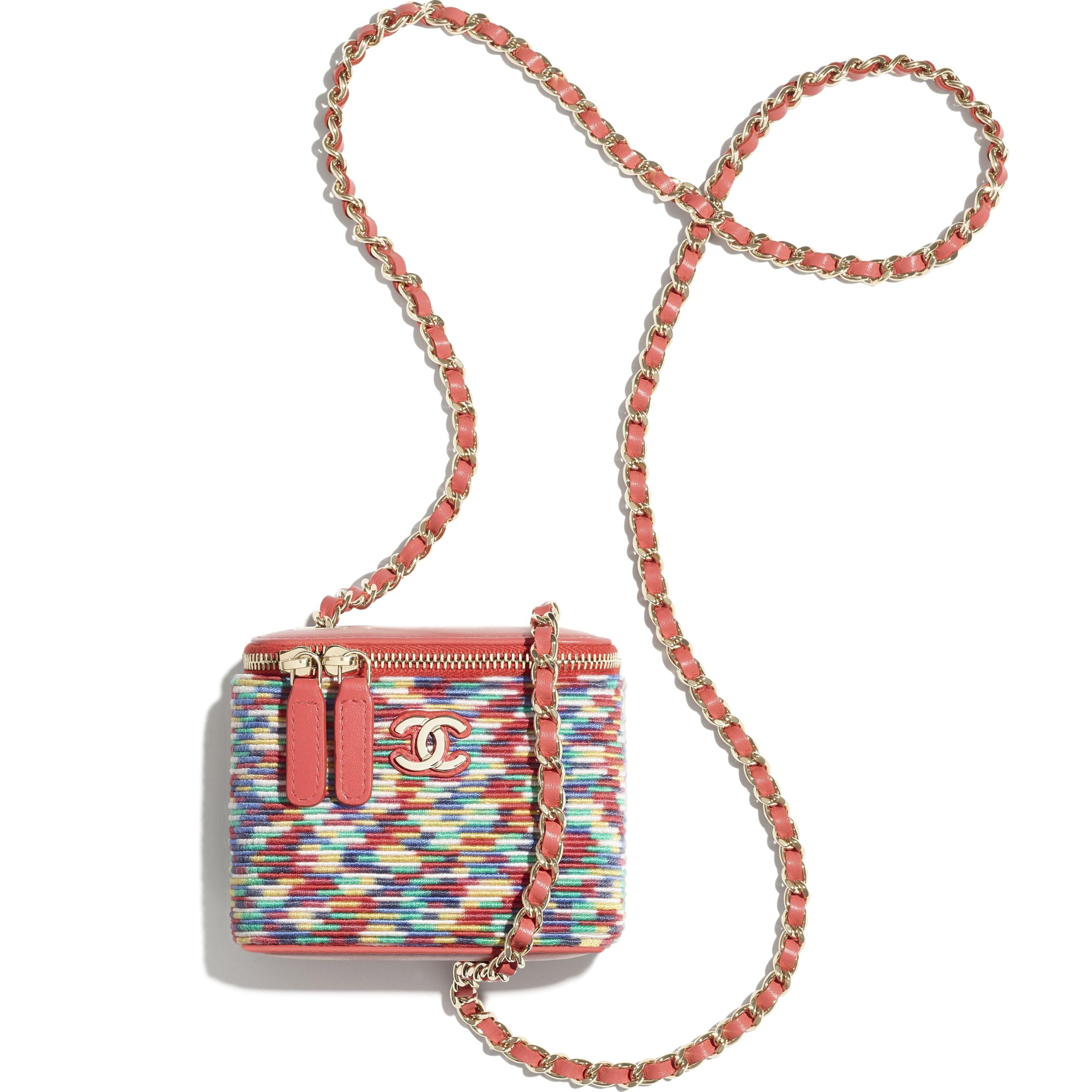 小型鍊子化妝包 - 多色 - Embroidered Thread & Gold-Tone Metal - CHANEL - 其他視圖 - 查看標準尺寸版本