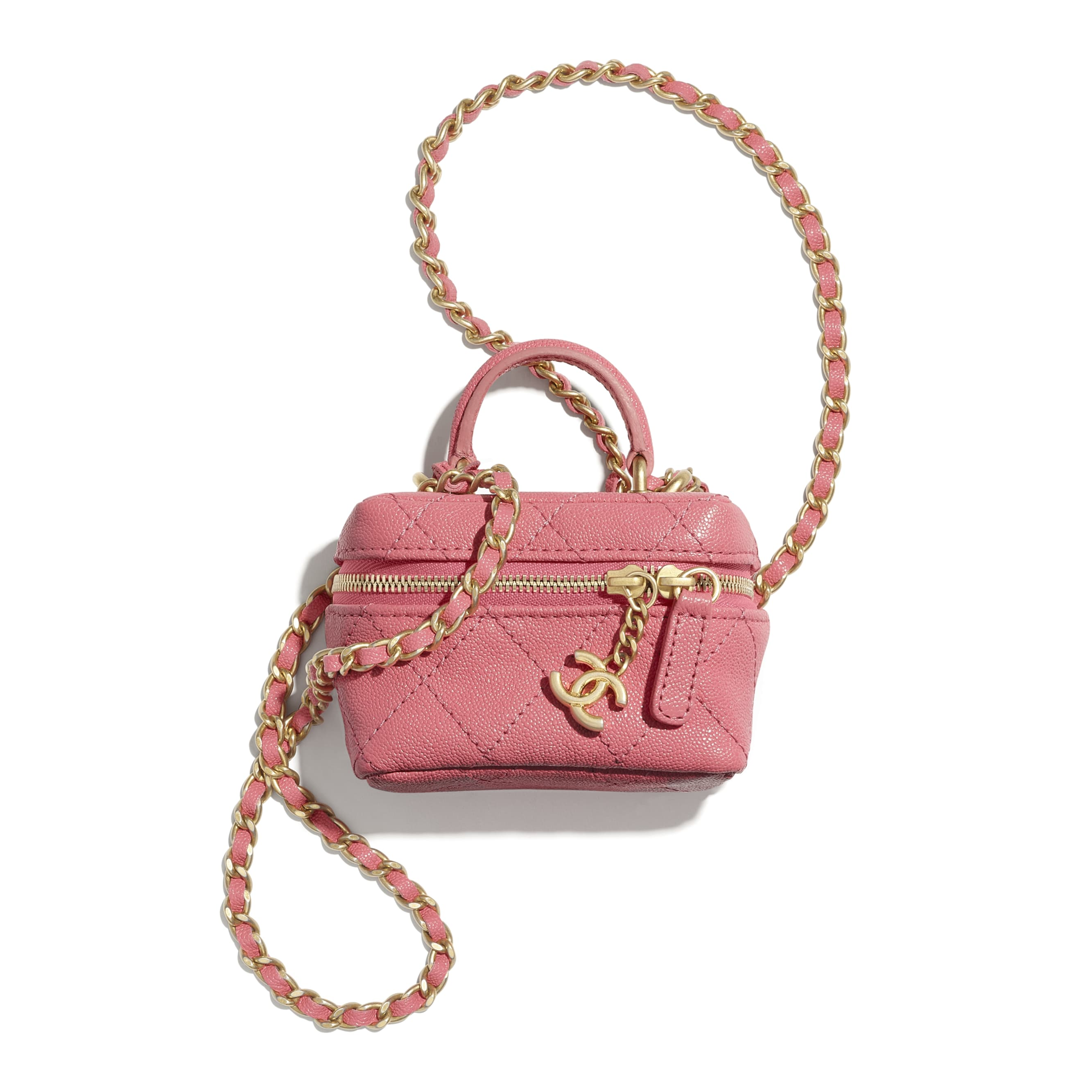 Small Vanity with Chain - Pink - Grained Calfskin & Gold-Tone Metal - CHANEL - Default view - see standard sized version