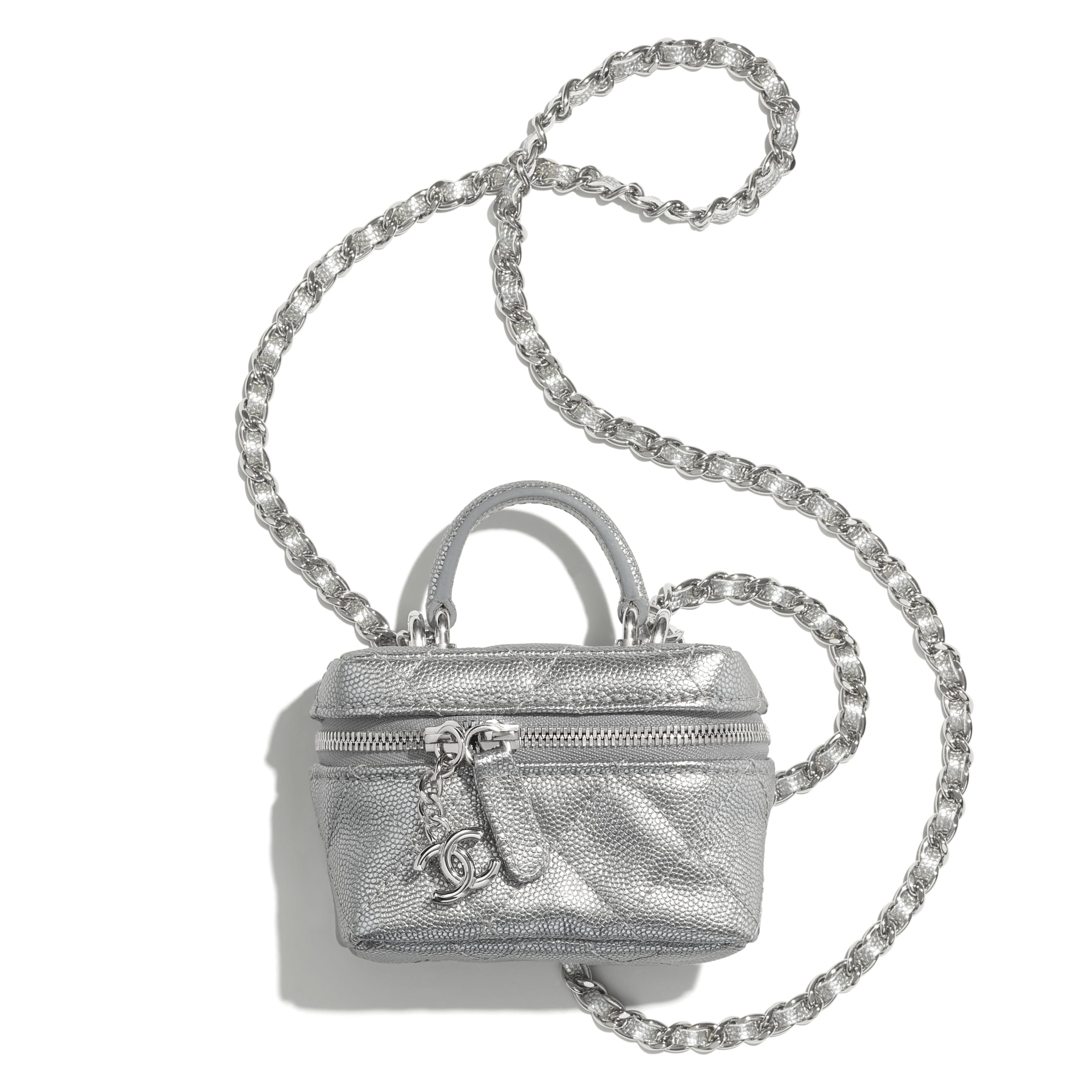 Small Vanity with Chain - Silver - Metallic Grained Calfskin & Silver-Tone Metal - CHANEL - Default view - see standard sized version