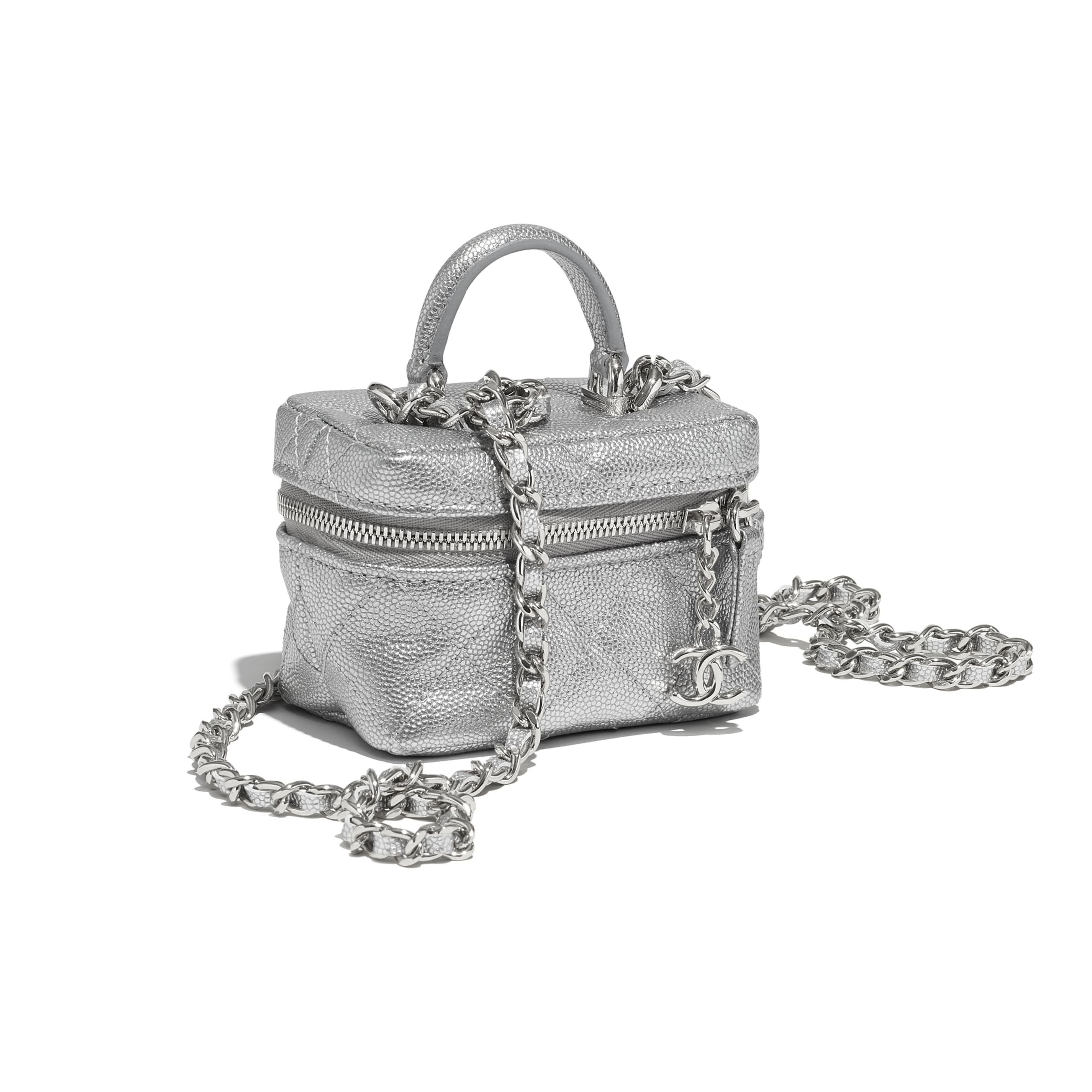 Small Vanity with Chain - Silver - Metallic Grained Calfskin & Silver-Tone Metal - CHANEL - Extra view - see standard sized version