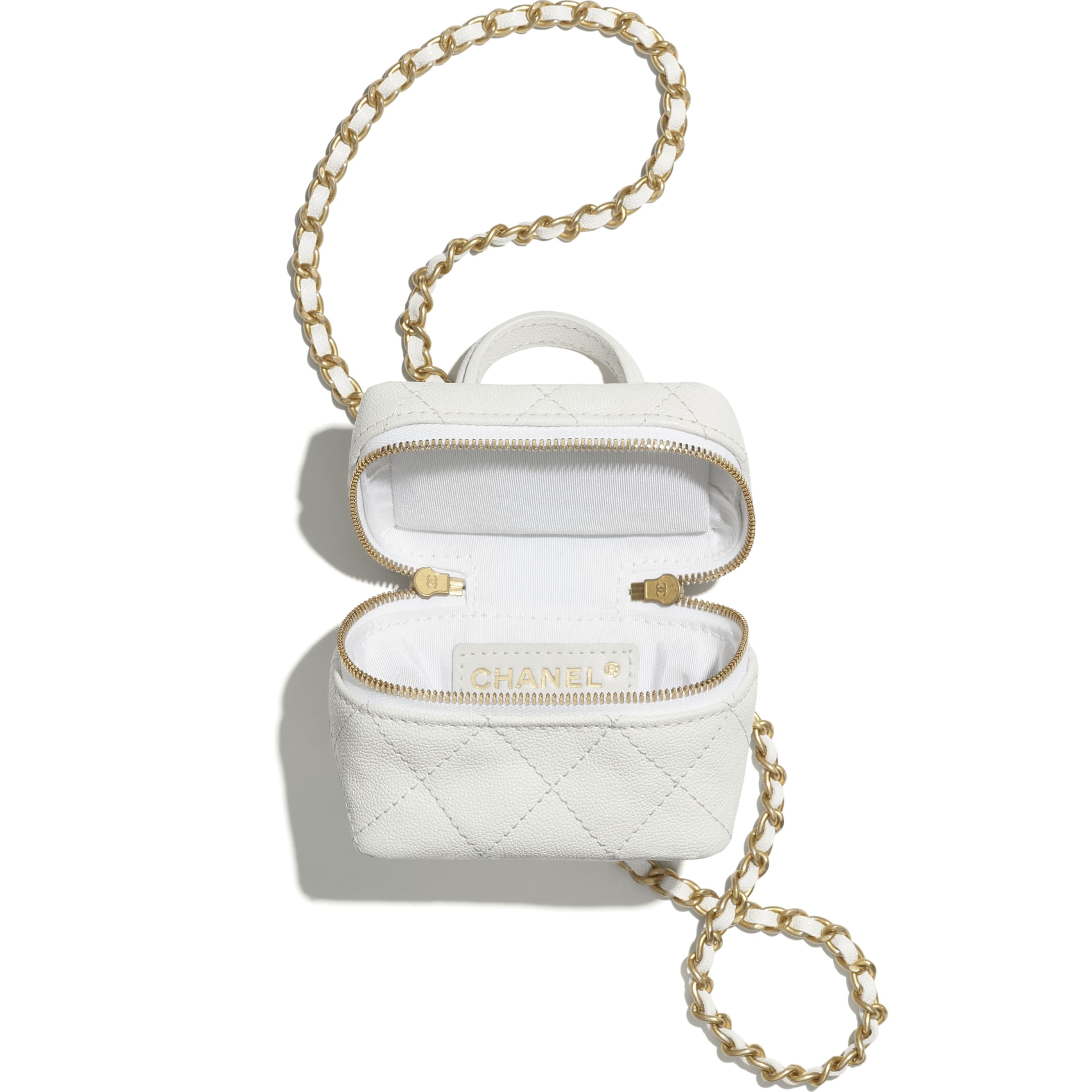 Small Vanity with Chain - White - Grained Calfskin & Gold-Tone Metal - CHANEL - Alternative view - see standard sized version