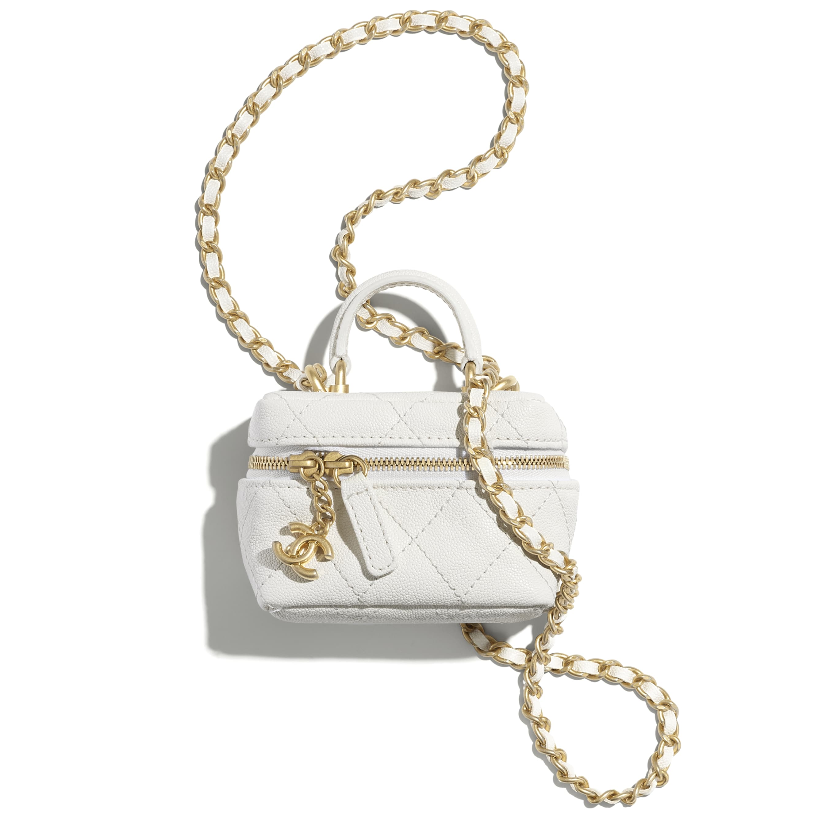 Small Vanity with Chain - White - Grained Calfskin & Gold-Tone Metal - CHANEL - Default view - see standard sized version