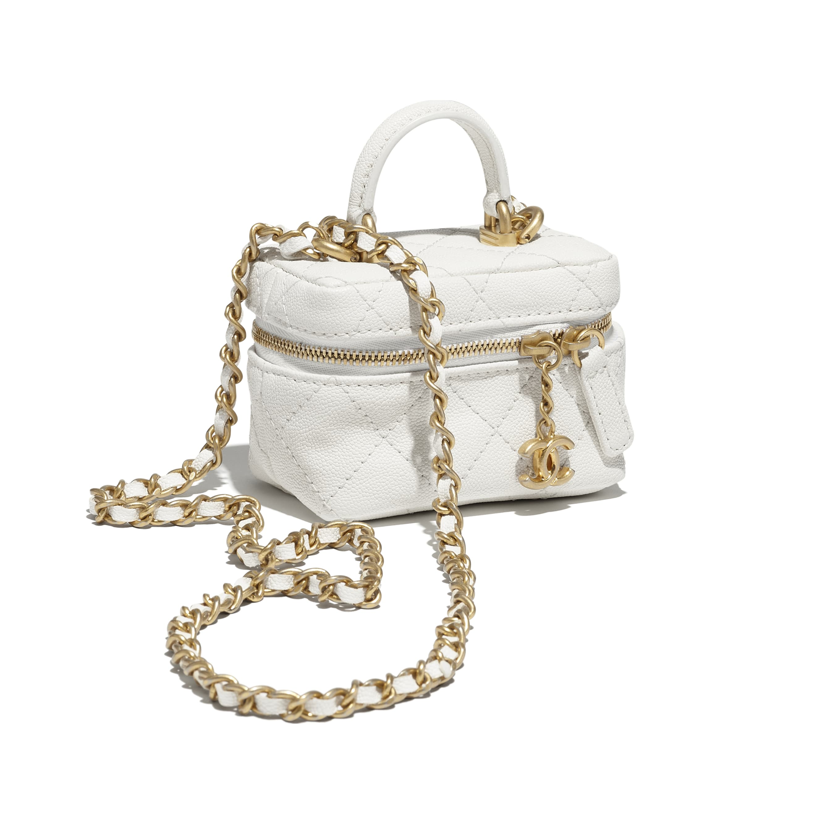 Small Vanity with Chain - White - Grained Calfskin & Gold-Tone Metal - CHANEL - Extra view - see standard sized version
