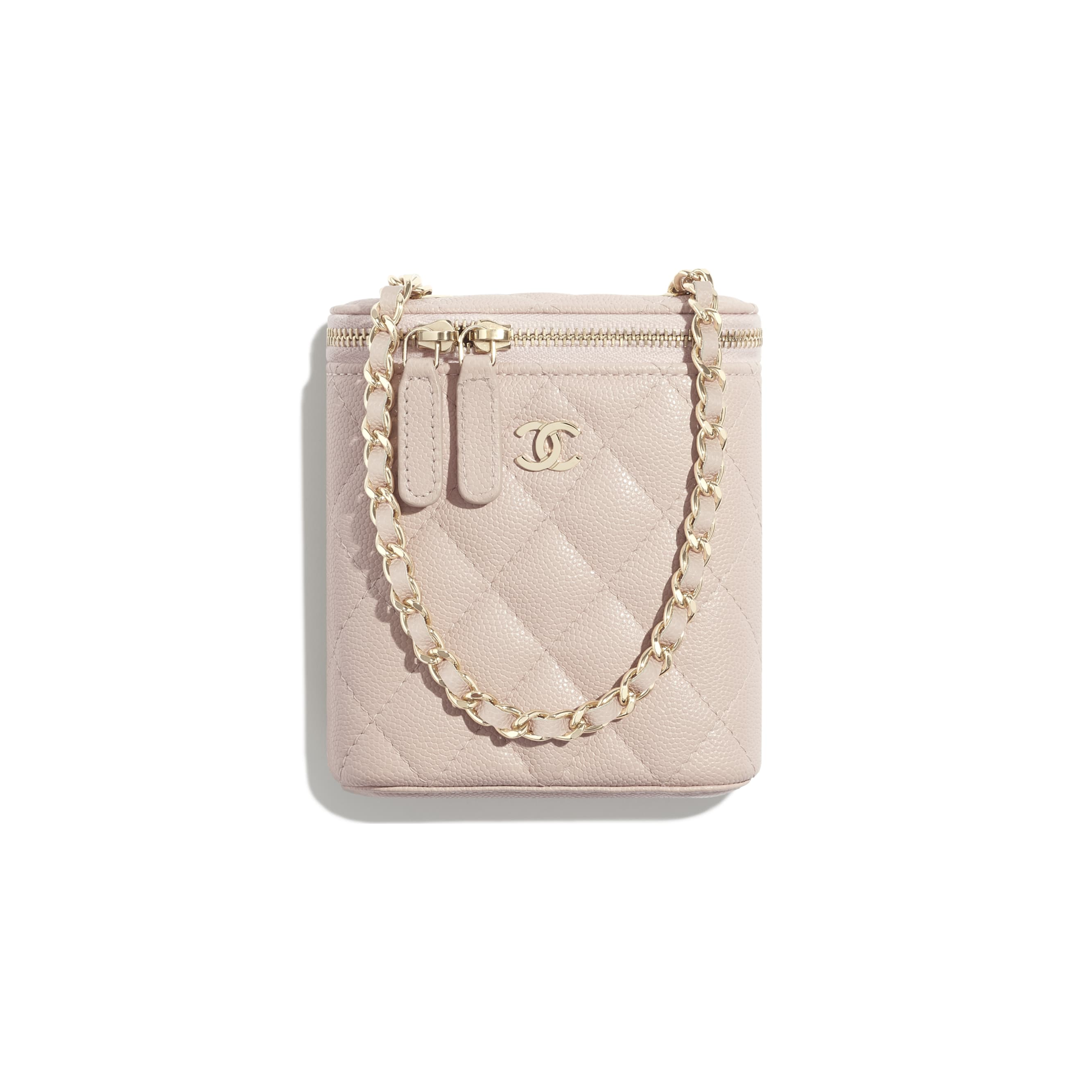 Small Vanity with Classic Chain - Pale Pink - Grained Shiny Calfskin & Gold-Tone Metal - CHANEL - Default view - see standard sized version