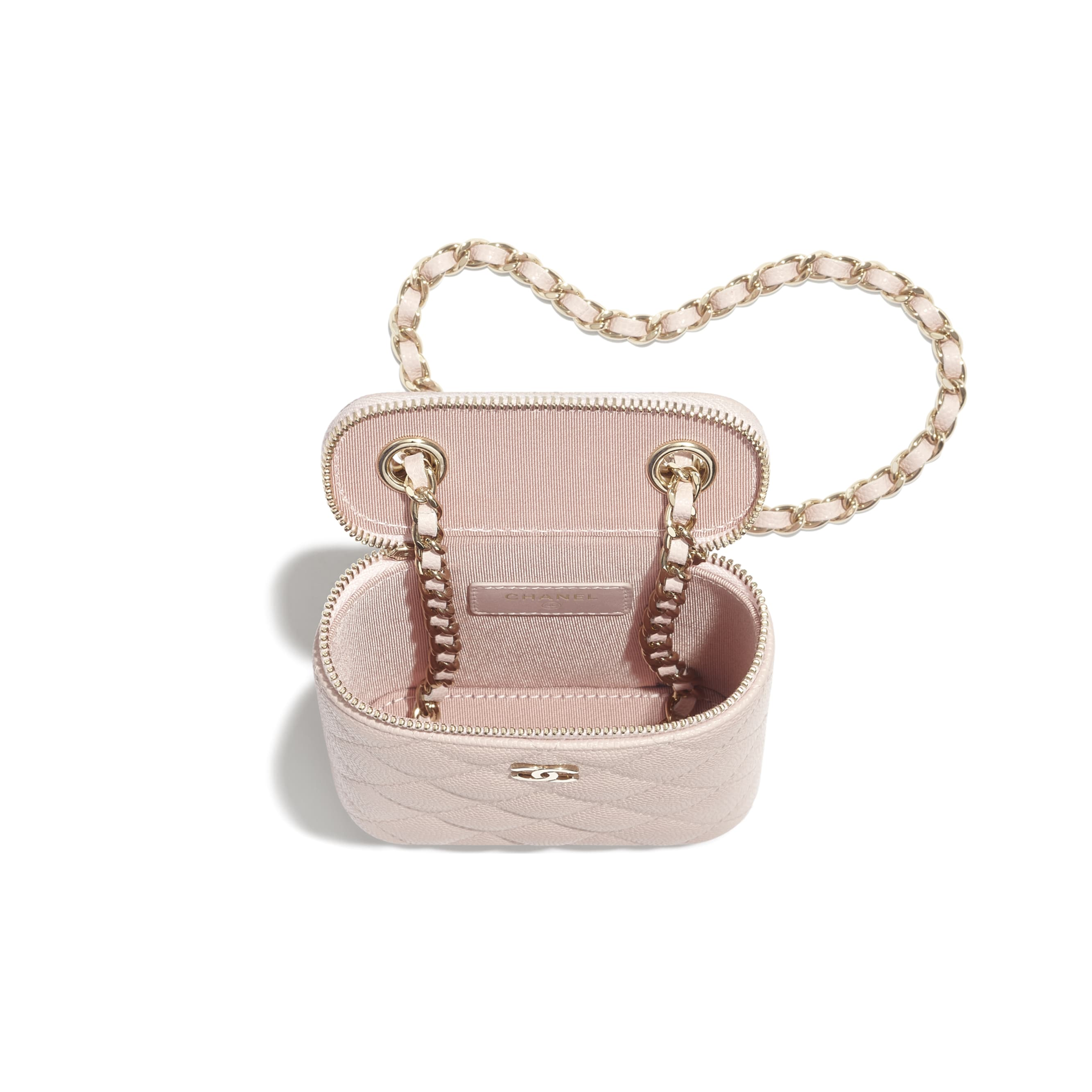 Small Vanity with Classic Chain - Pale Pink - Grained Shiny Calfskin & Gold-Tone Metal - CHANEL - Other view - see standard sized version