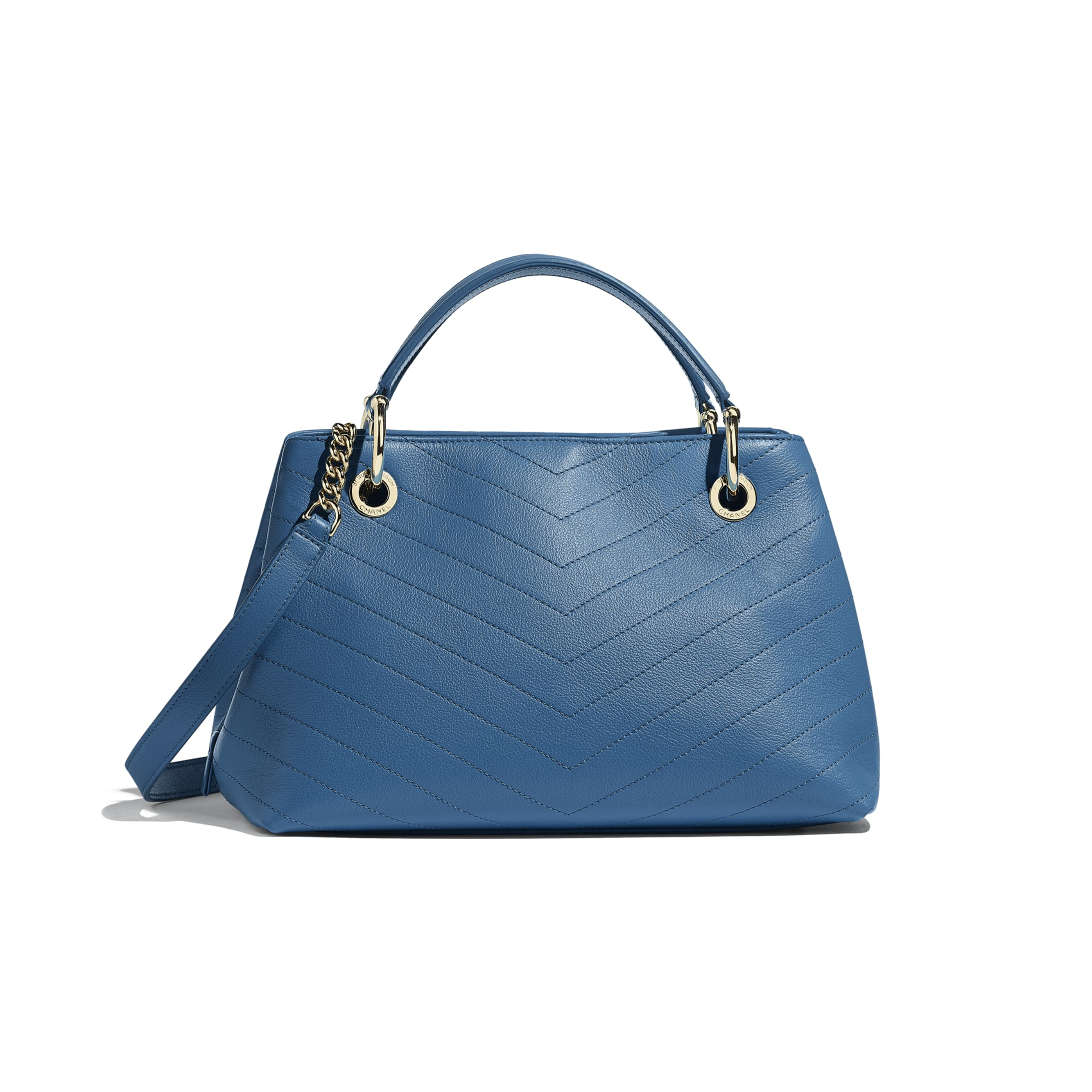 Small Zipped Shopping Bag - Blue - Grained Calfskin & Gold-Tone Metal - Alternative view - see standard sized version