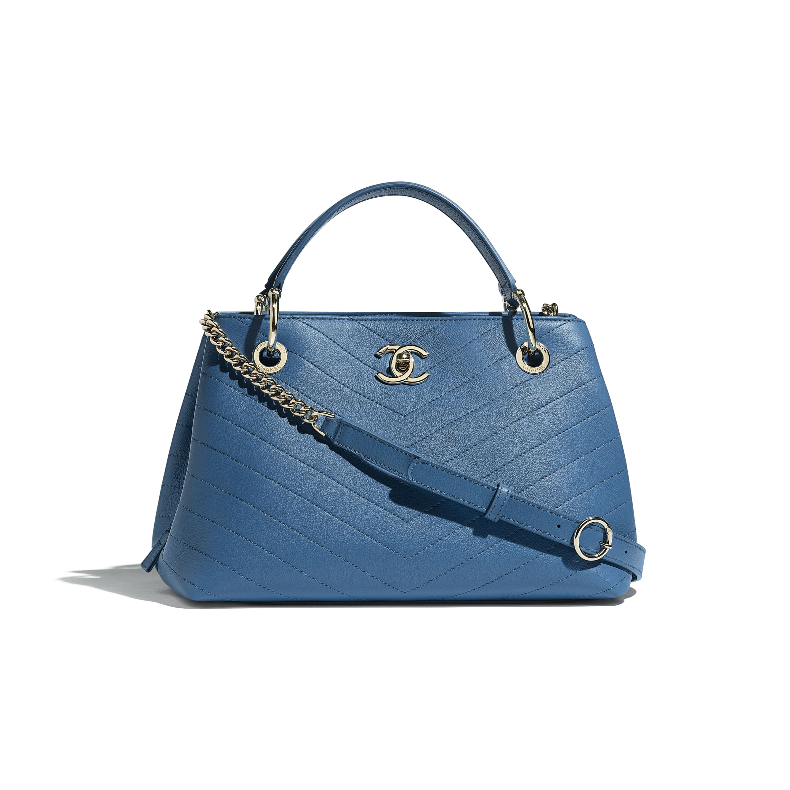 Small Zipped Shopping Bag - Blue - Grained Calfskin & Gold-Tone Metal - Default view - see standard sized version