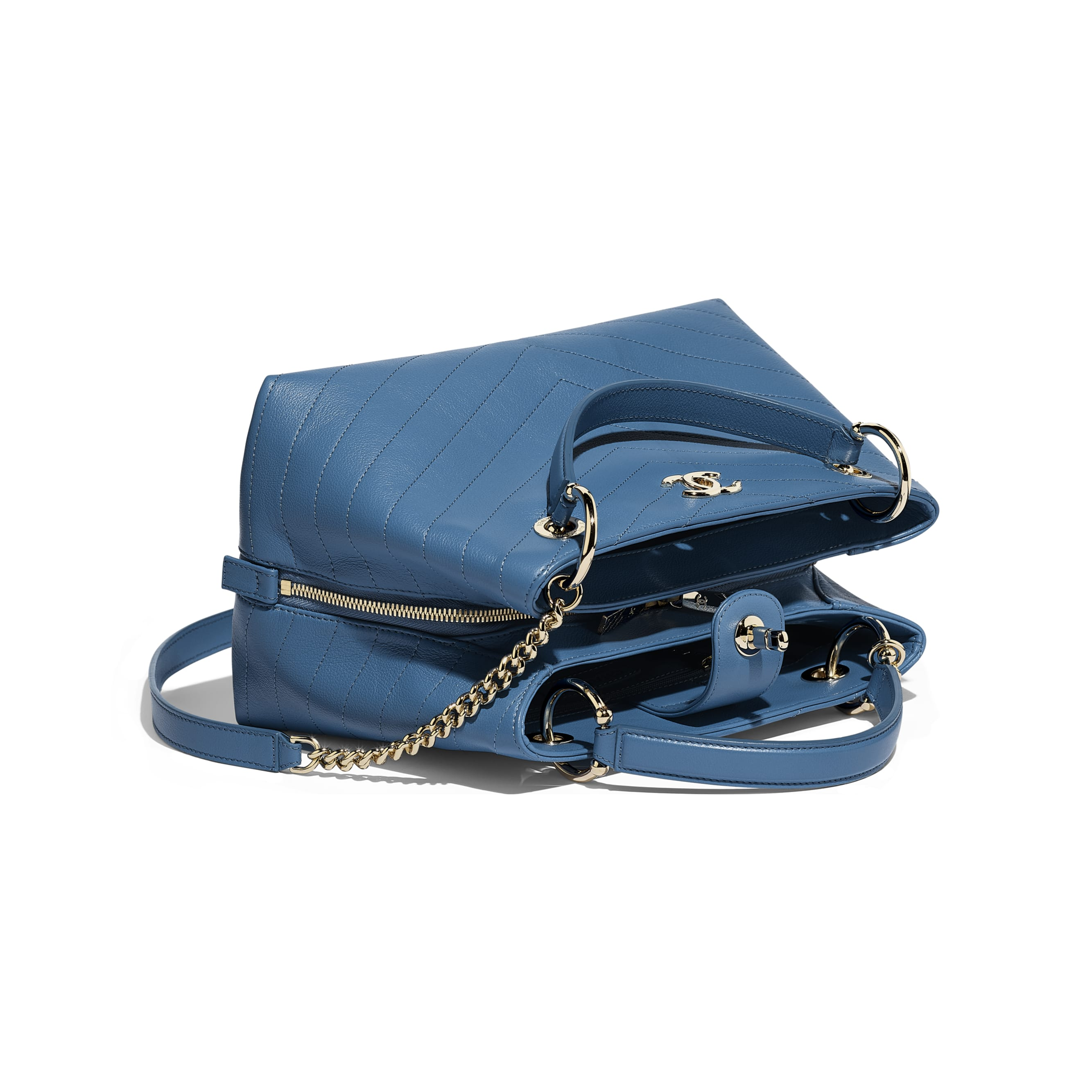 Small Zipped Shopping Bag - Blue - Grained Calfskin & Gold-Tone Metal - Other view - see standard sized version