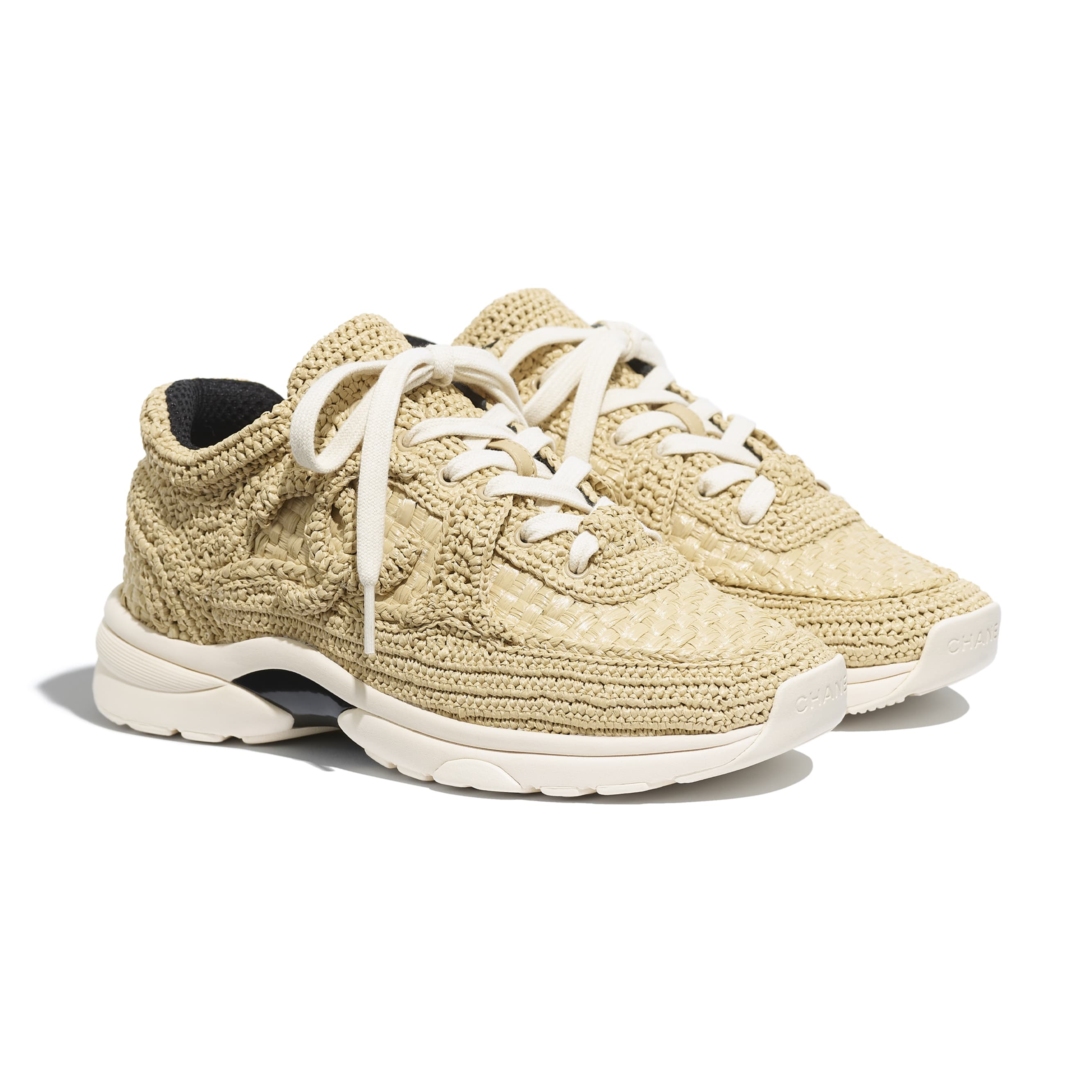 Trainers - Beige - Braided Raffia - CHANEL - Alternative view - see standard sized version