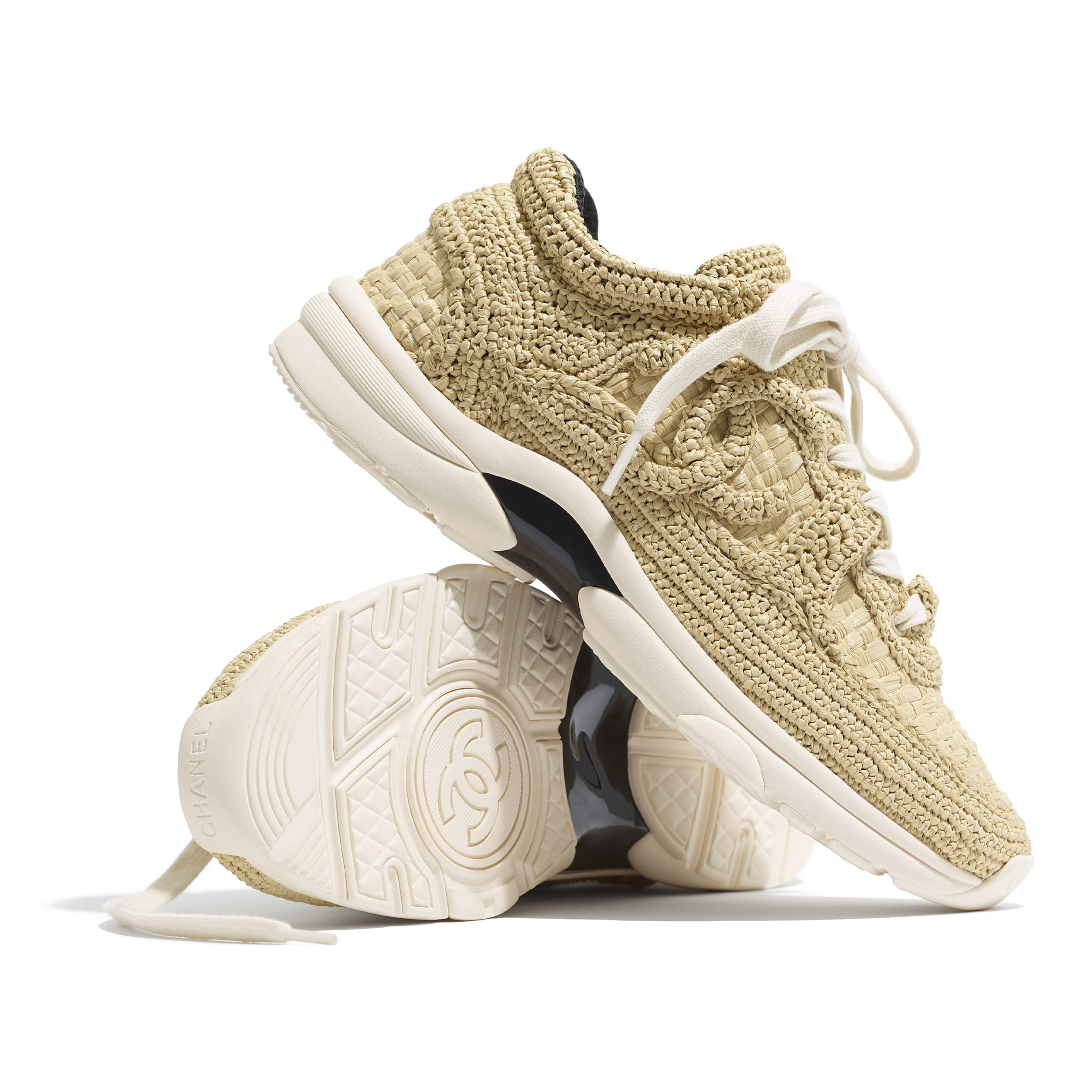 Trainers - Beige - Braided Raffia - CHANEL - Extra view - see standard sized version
