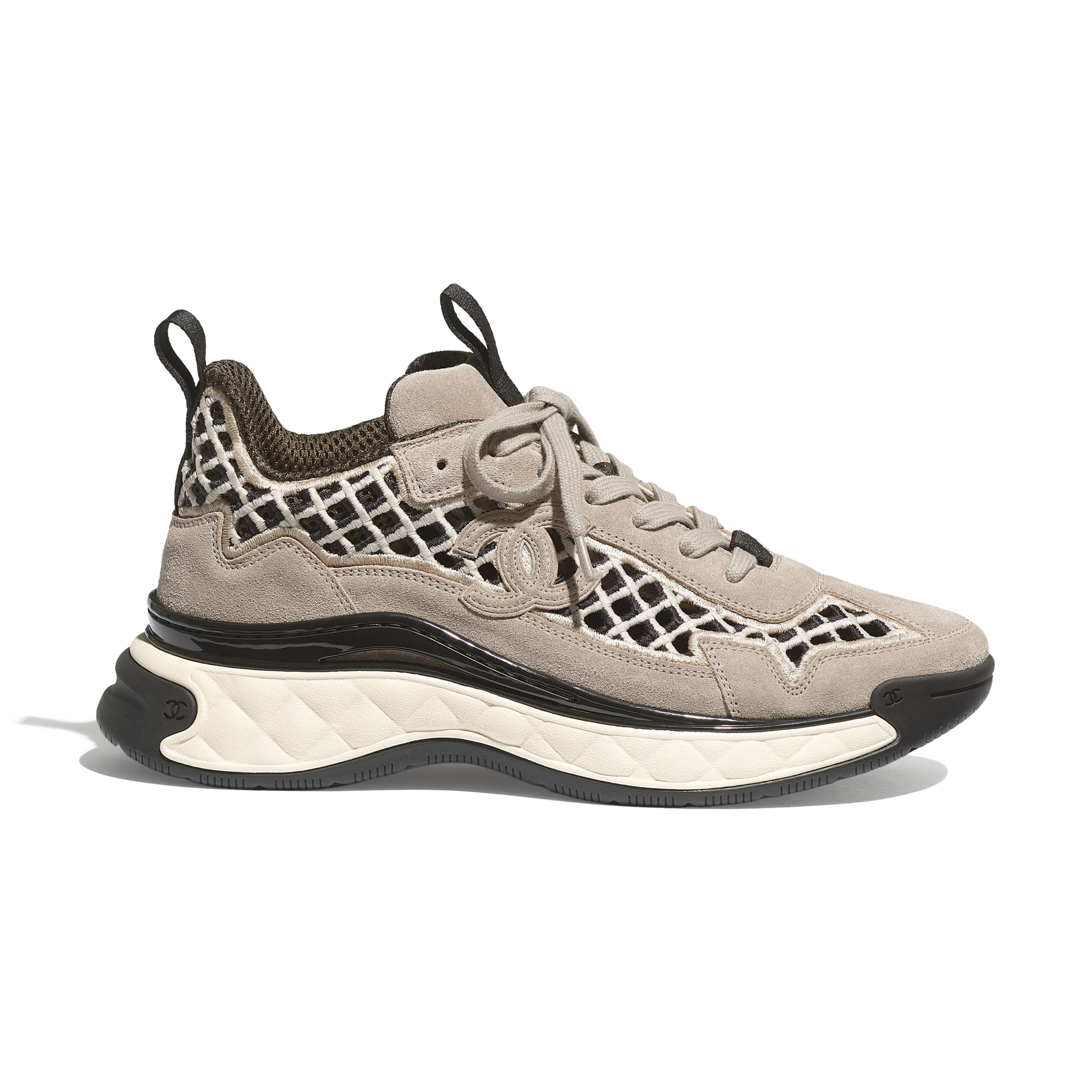 Trainers - Beige - Suede Calfskin & Embroidery - CHANEL - Default view - see standard sized version