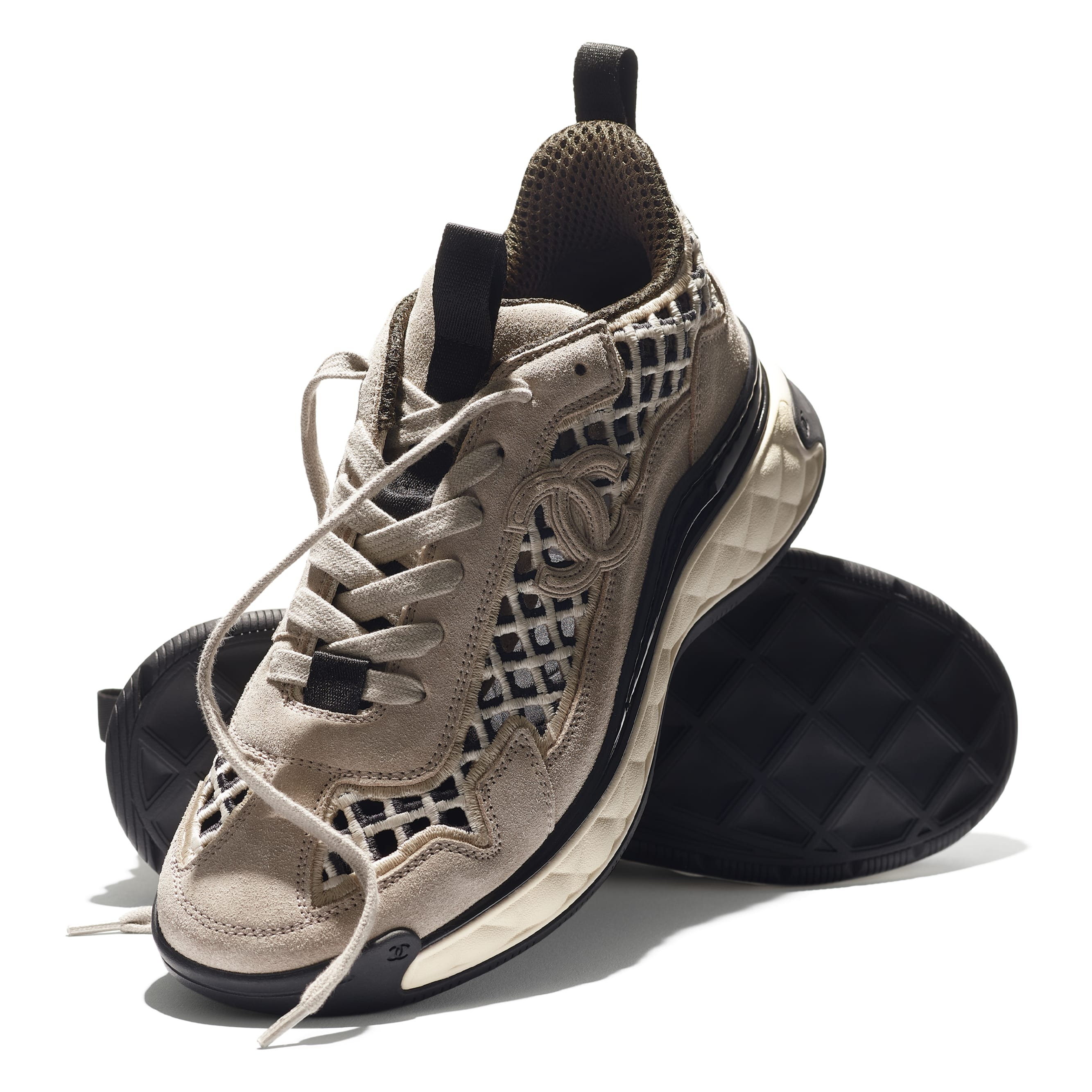 Trainers - Beige - Suede Calfskin & Embroidery - CHANEL - Extra view - see standard sized version