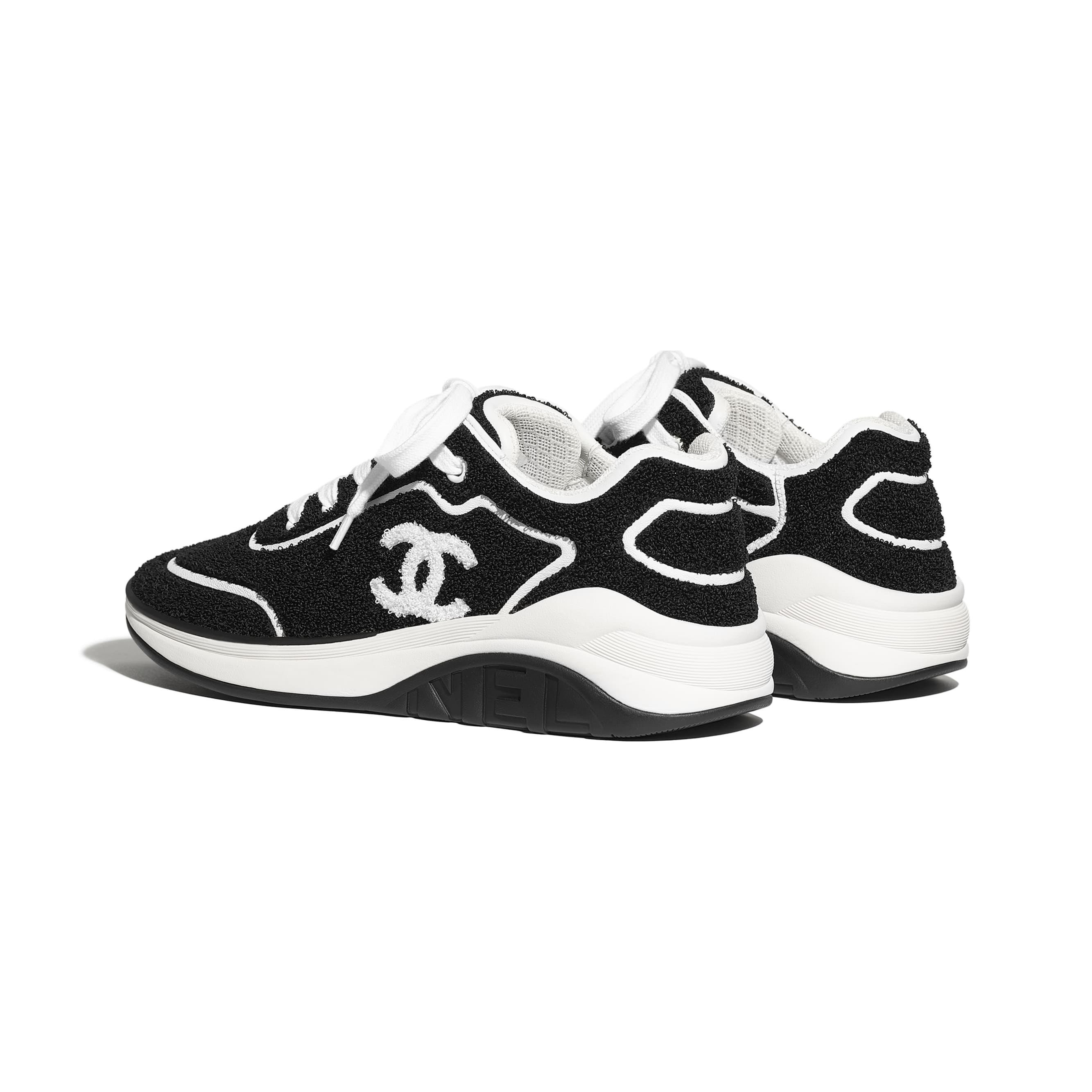 Sneakers - Black - Embroidered Fabric & Lambskin - CHANEL - Other view - see standard sized version