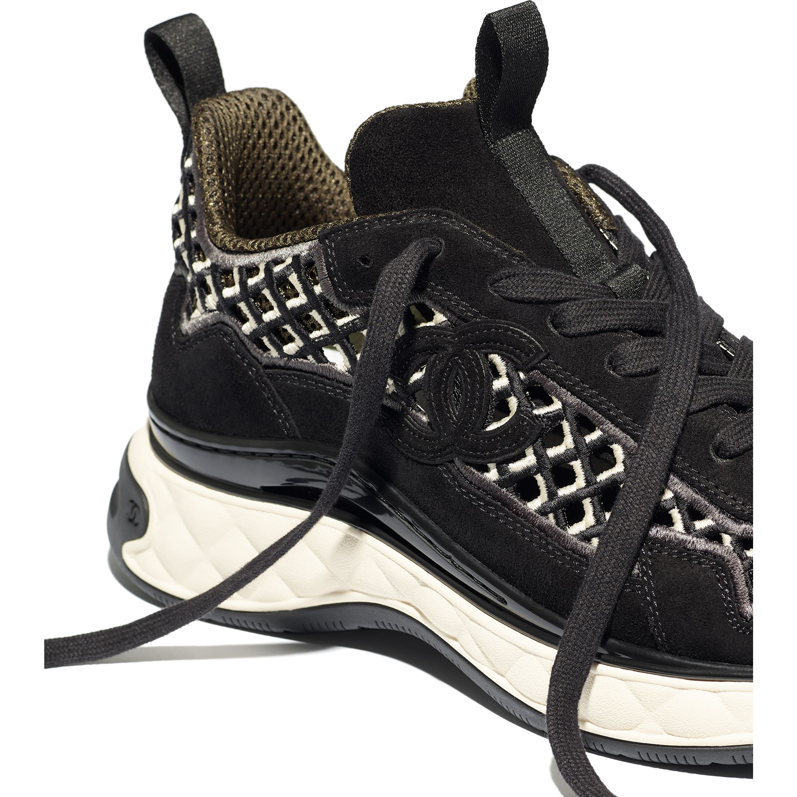 Sneakers - Black - Suede Calfskin & Embroidery - CHANEL - Extra view - see standard sized version