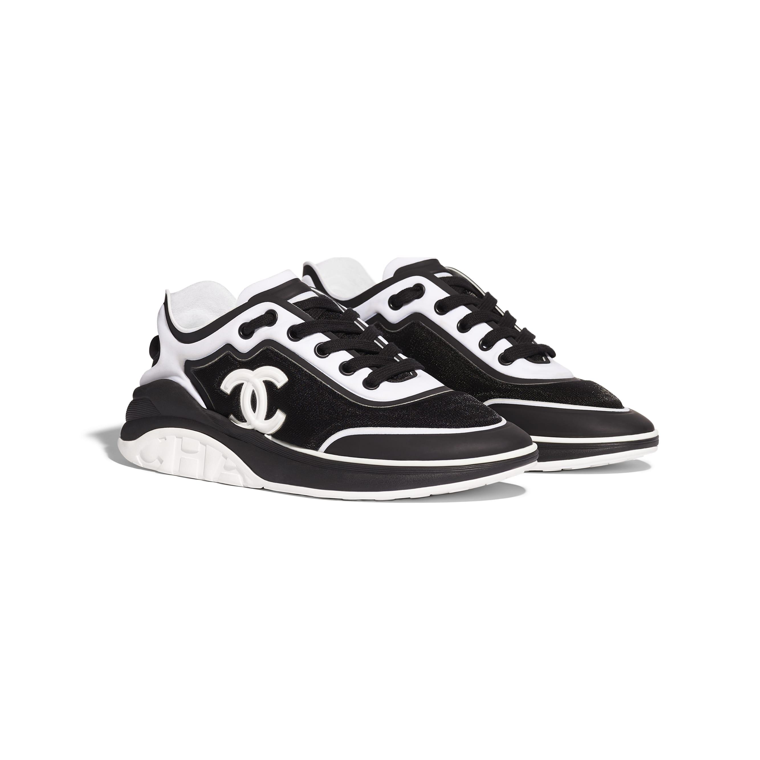 Sneakers - Black & White - Mesh & Lycra - Alternative view - see standard sized version