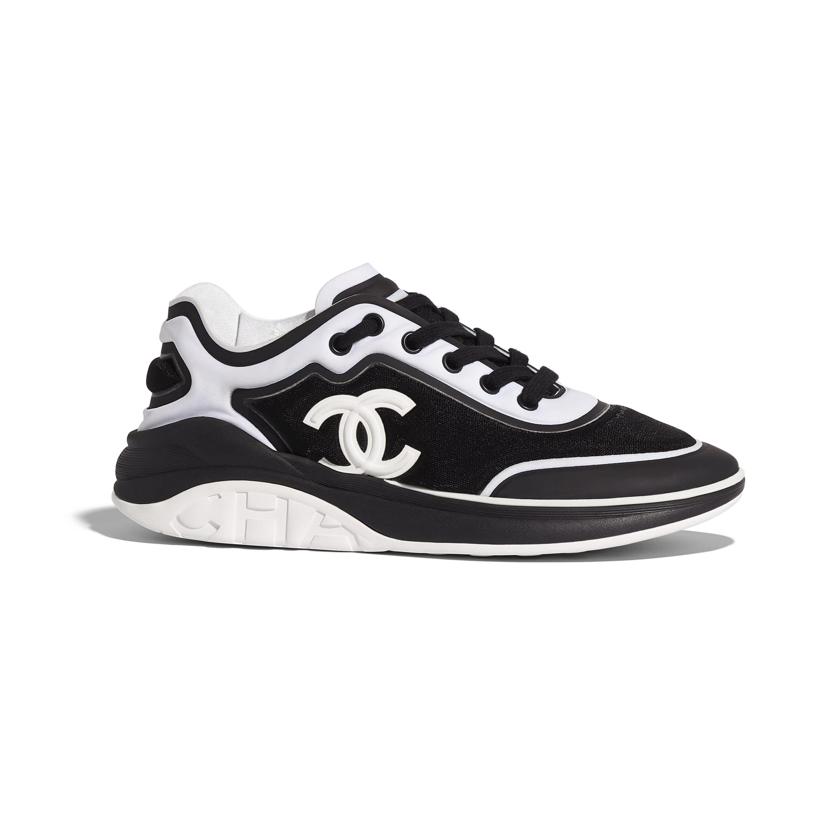 Sneakers - Black & White - Mesh & Lycra - Default view - see standard sized version